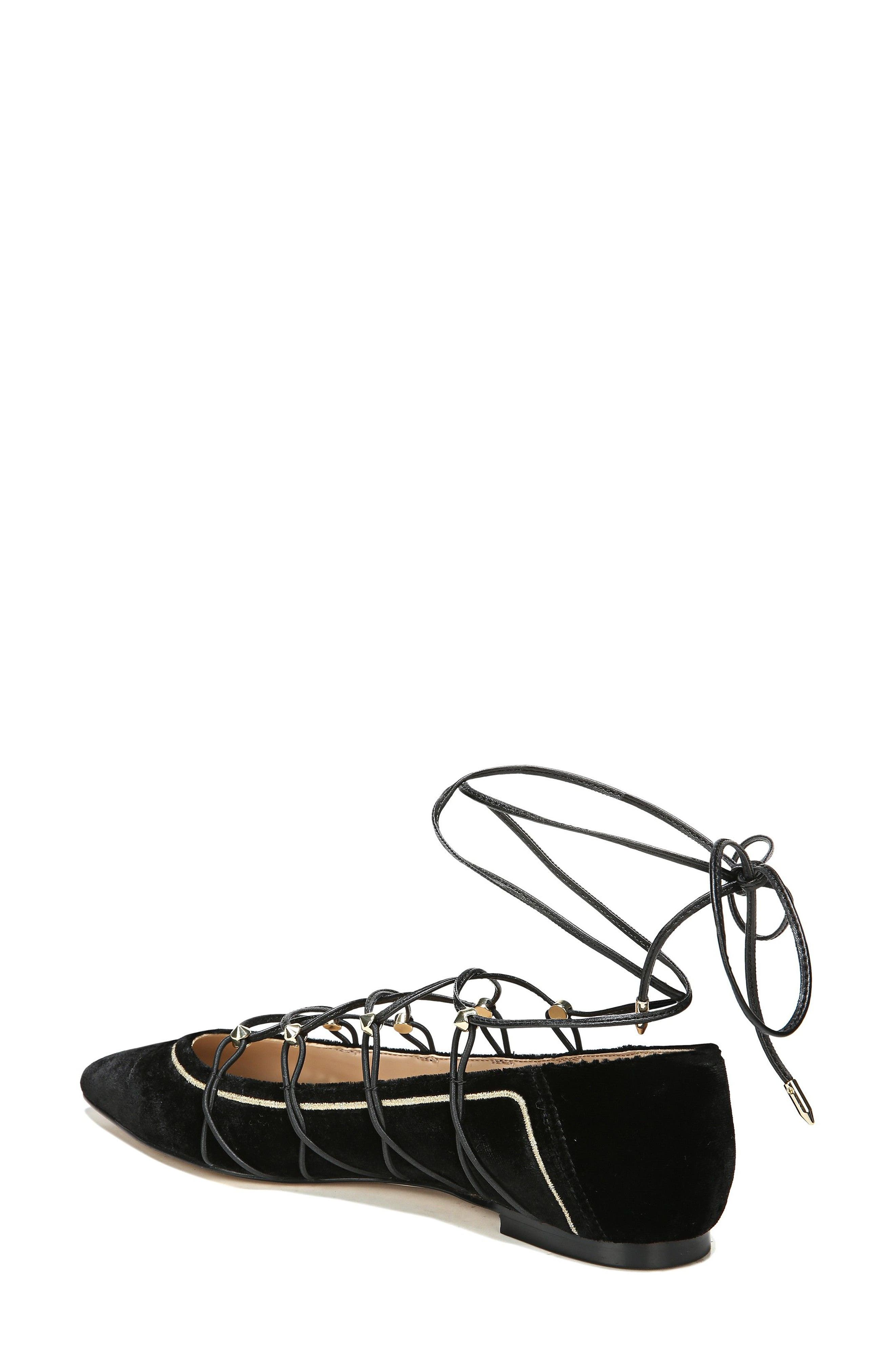 Rockwell Ghillie Pointy Toe Flat,                             Alternate thumbnail 2, color,                             Black Velvet
