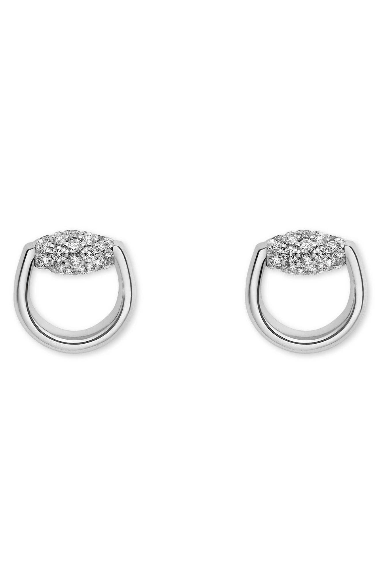 Horsebit Diamond Stud Earrings,                             Main thumbnail 1, color,                             White Gold