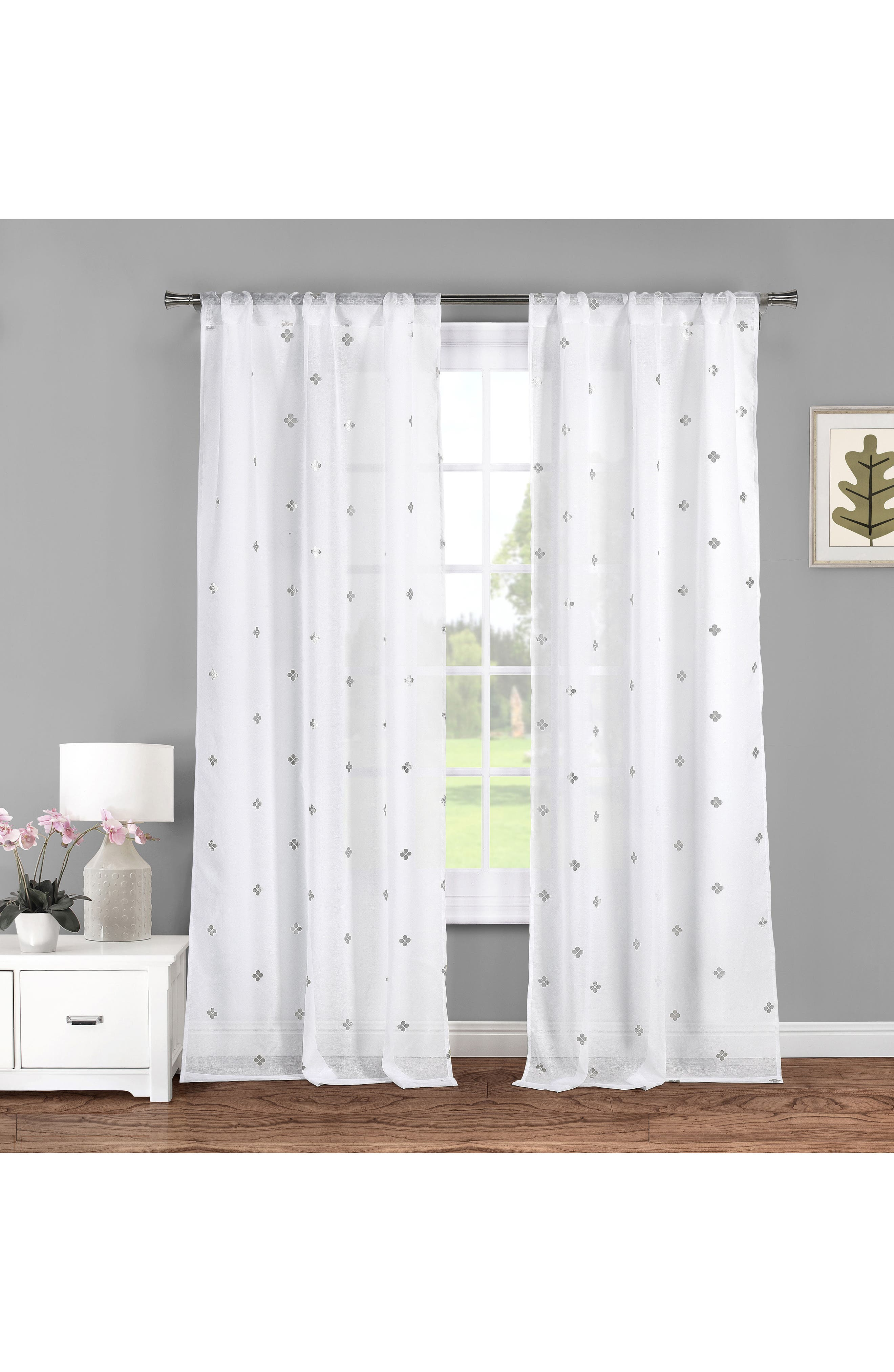 Becca Metallic Clover Sheer Window Panels,                             Main thumbnail 1, color,                             White/ Silver