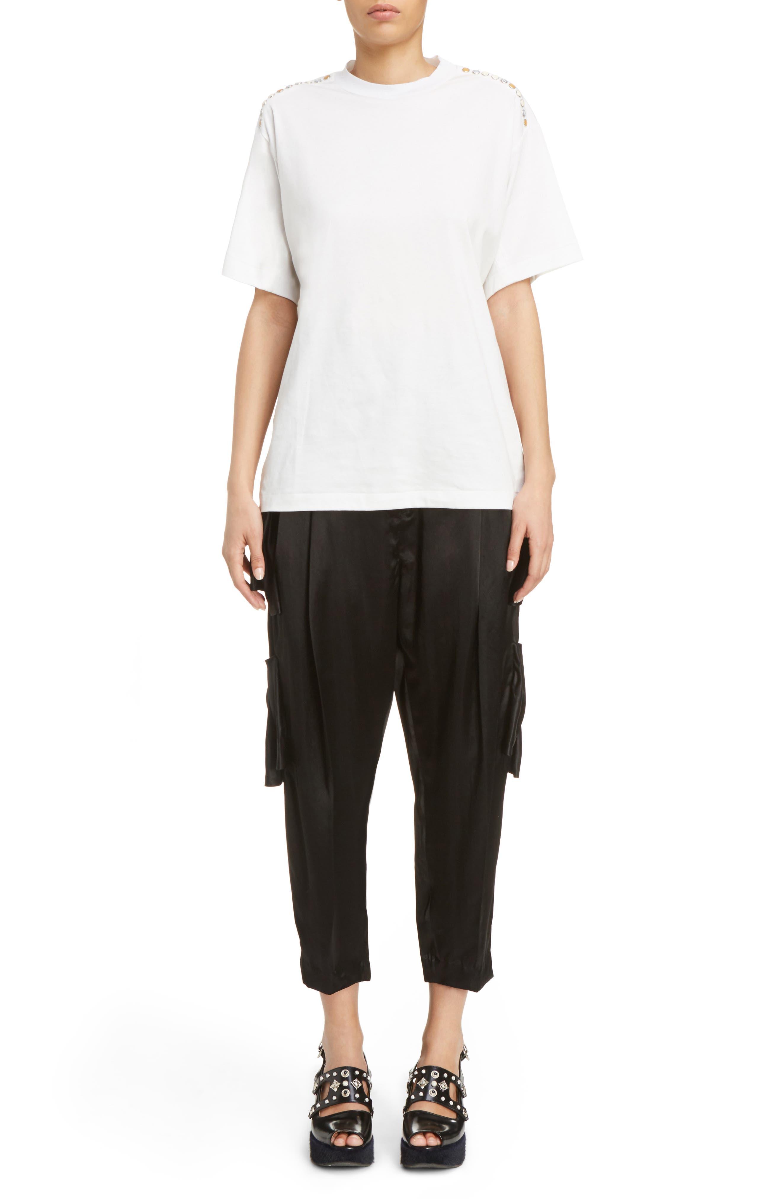Pleated Satin Crop Pants,                             Alternate thumbnail 8, color,                             Black