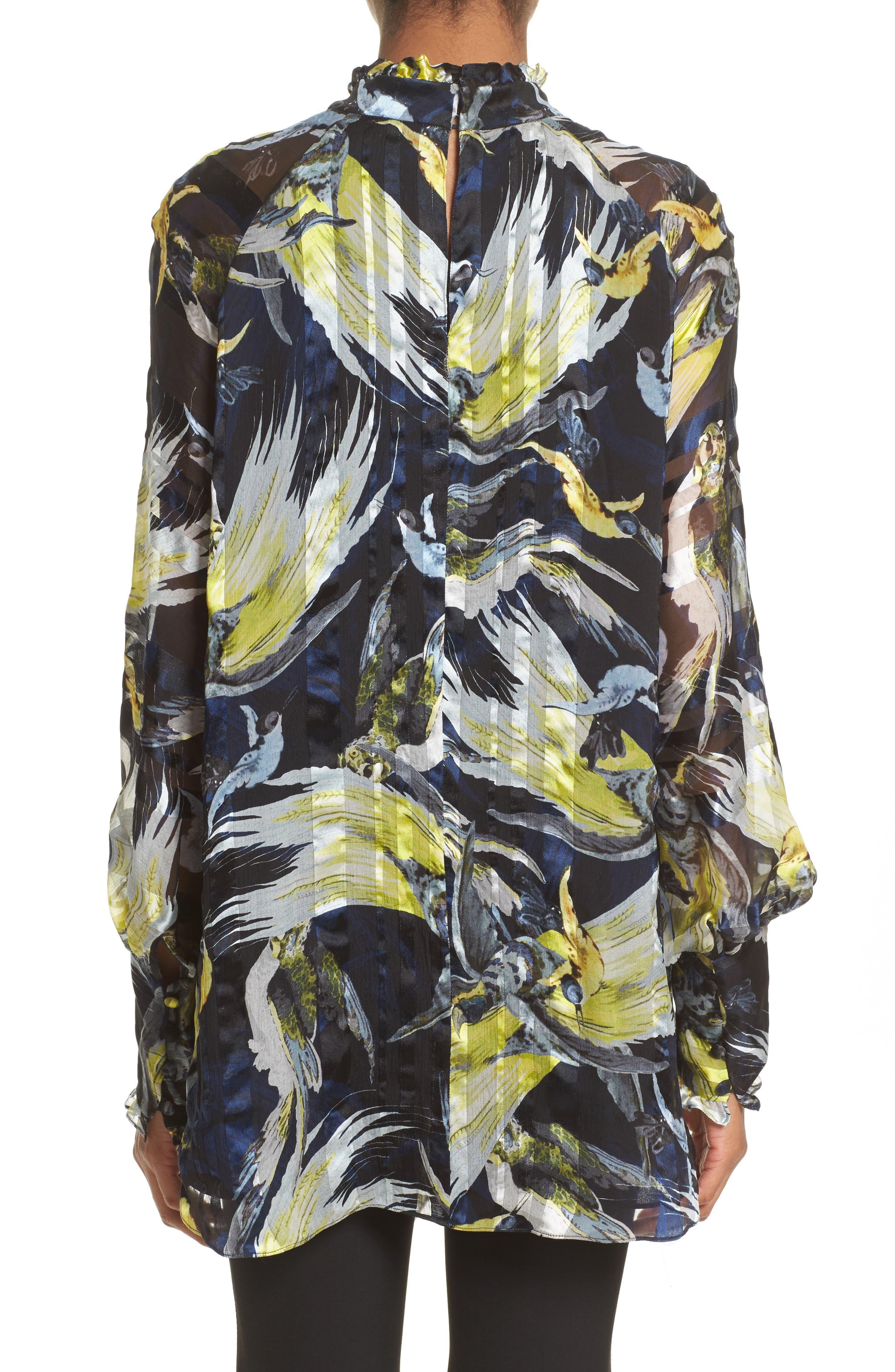 Bird Print Silk Chiffon Blouse,                             Alternate thumbnail 2, color,                             Black/ Yellow