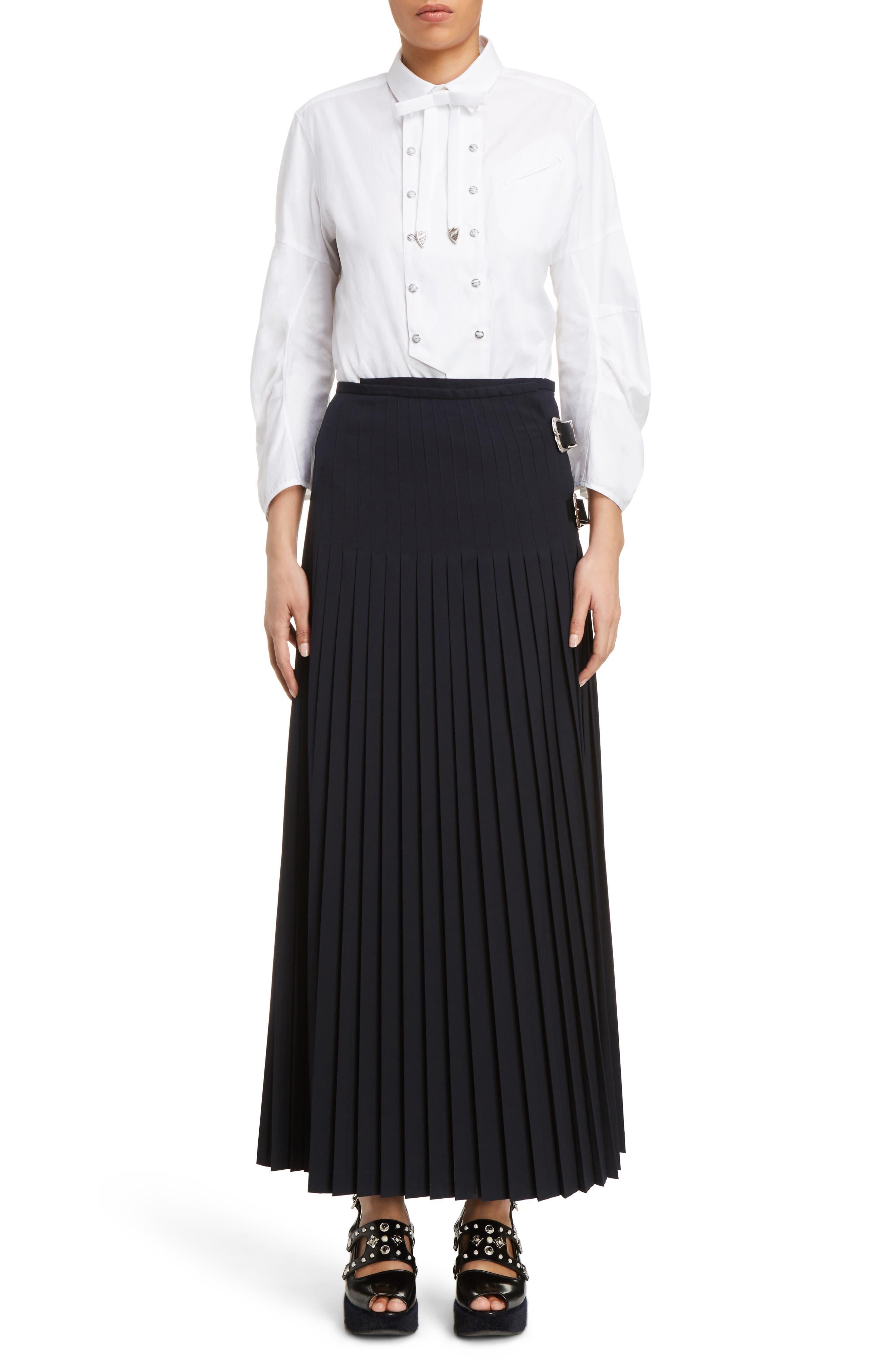 Pleated Wool Blend Skirt,                             Alternate thumbnail 6, color,                             Navy
