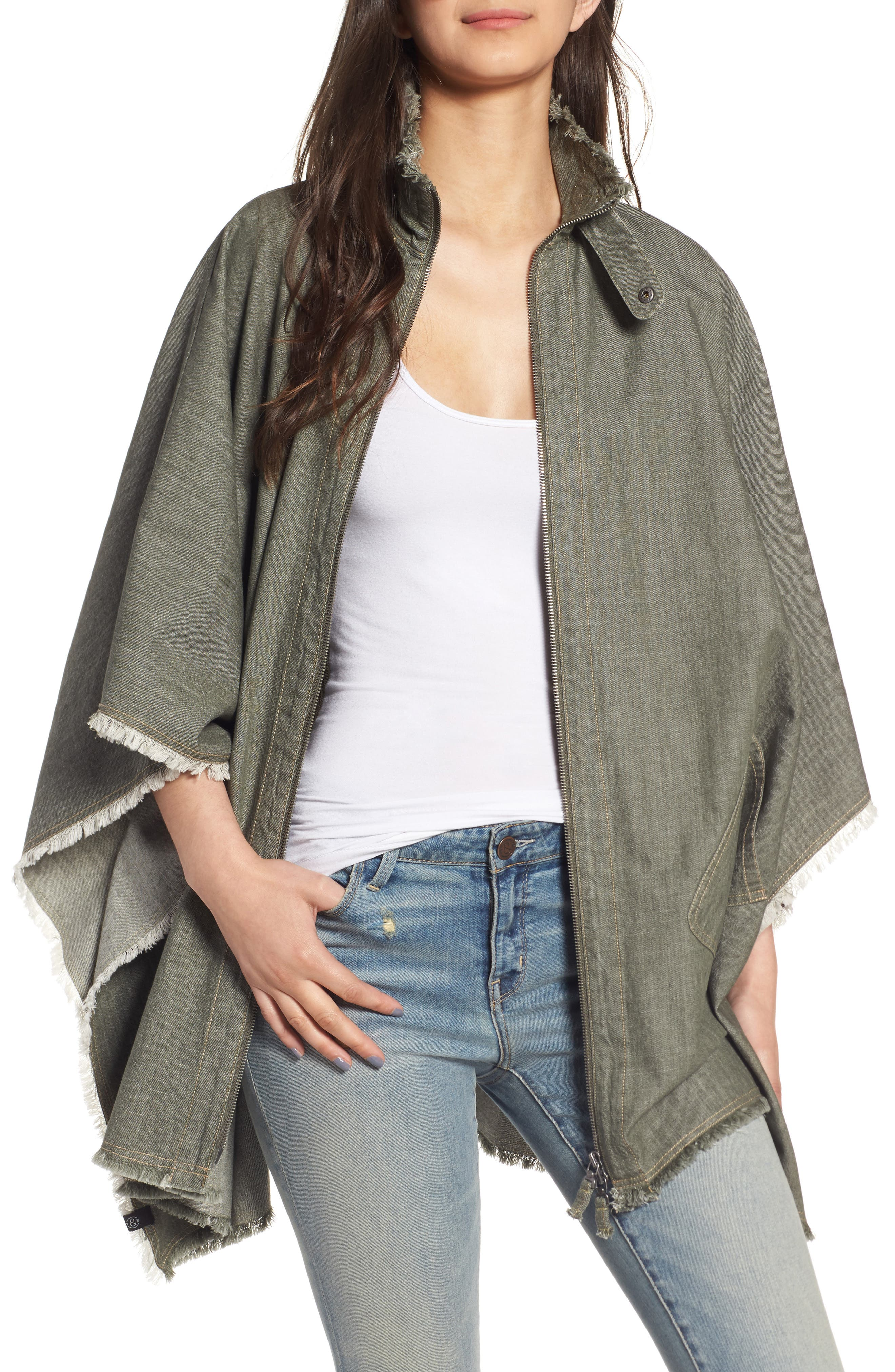 Canvas Cape,                         Main,                         color, Olive Dark