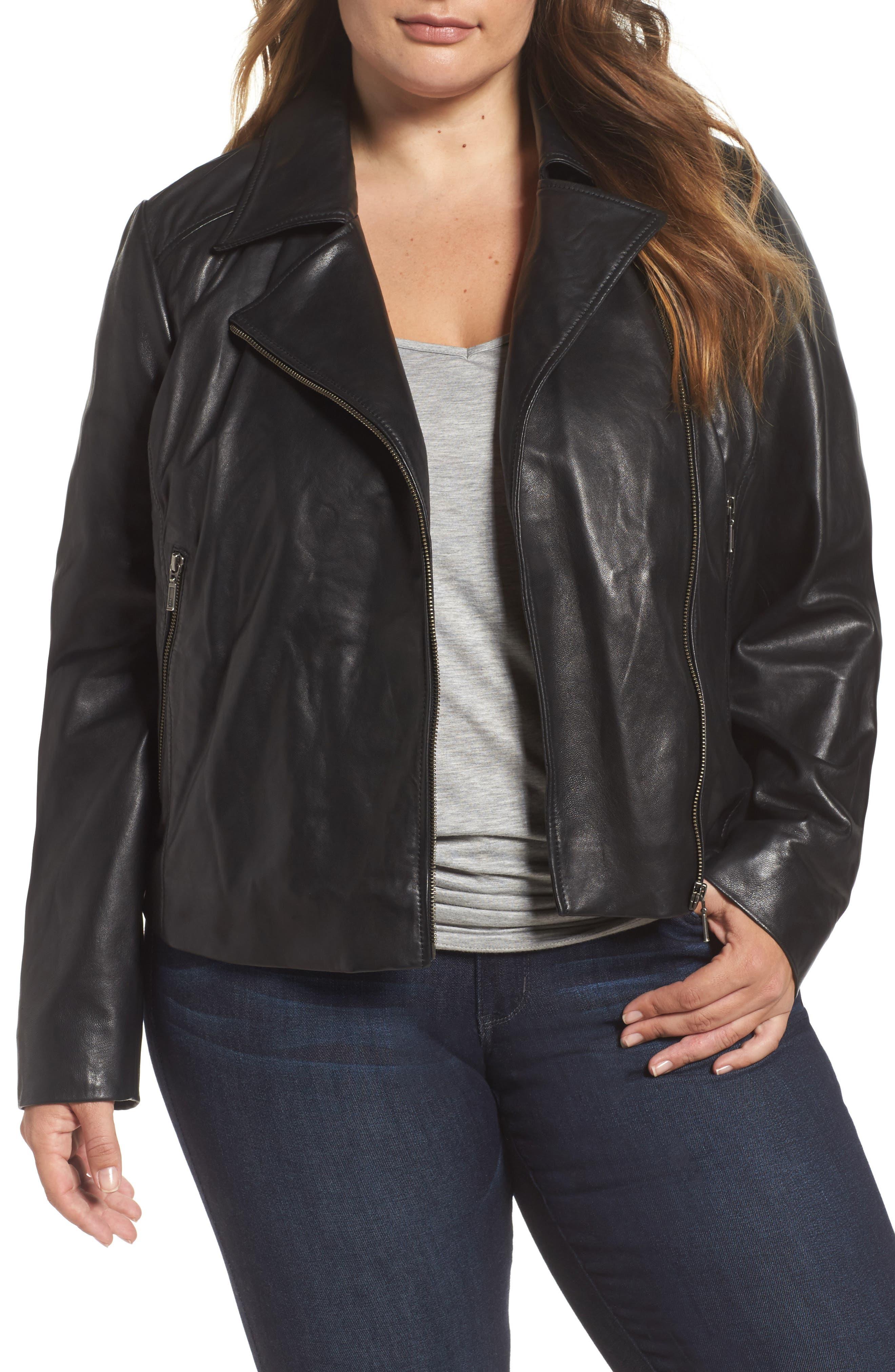 Halogen® Leather Moto Jacket (Plus Size)