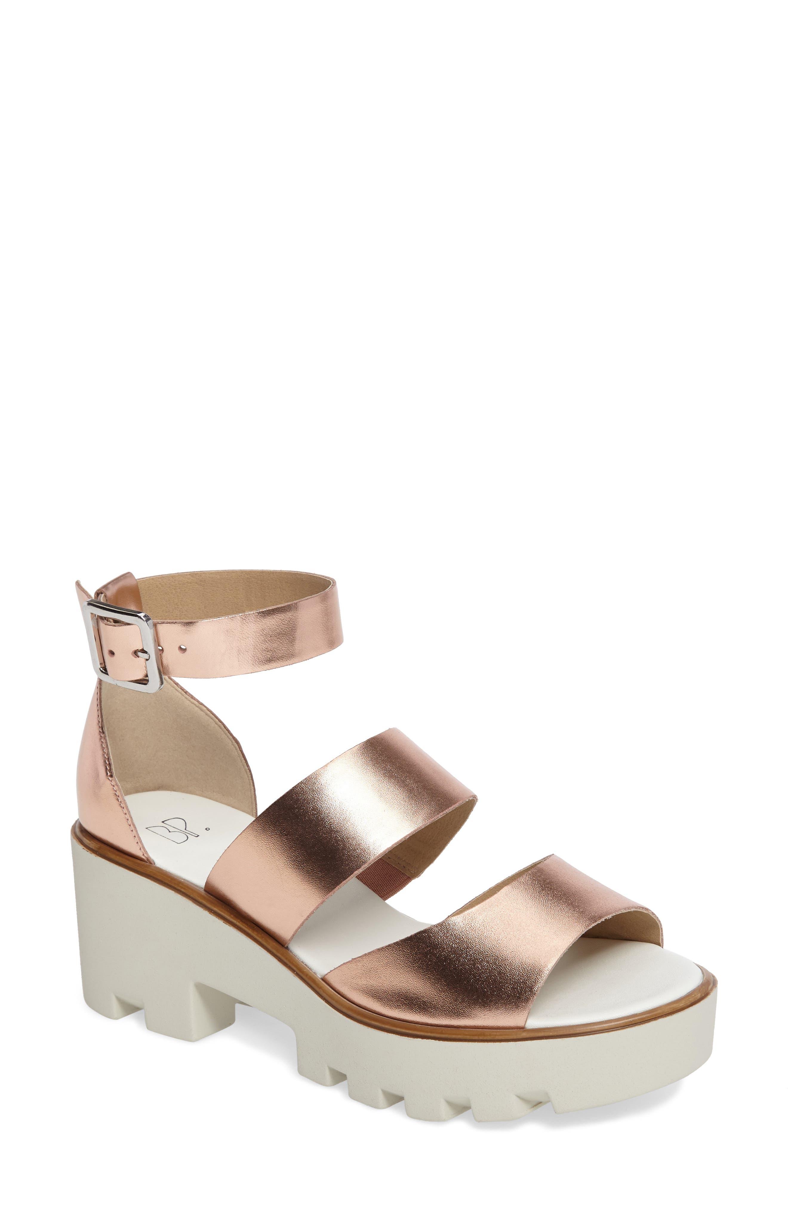 Rowan Platform Sandal,                         Main,                         color, Rose Gold Leather