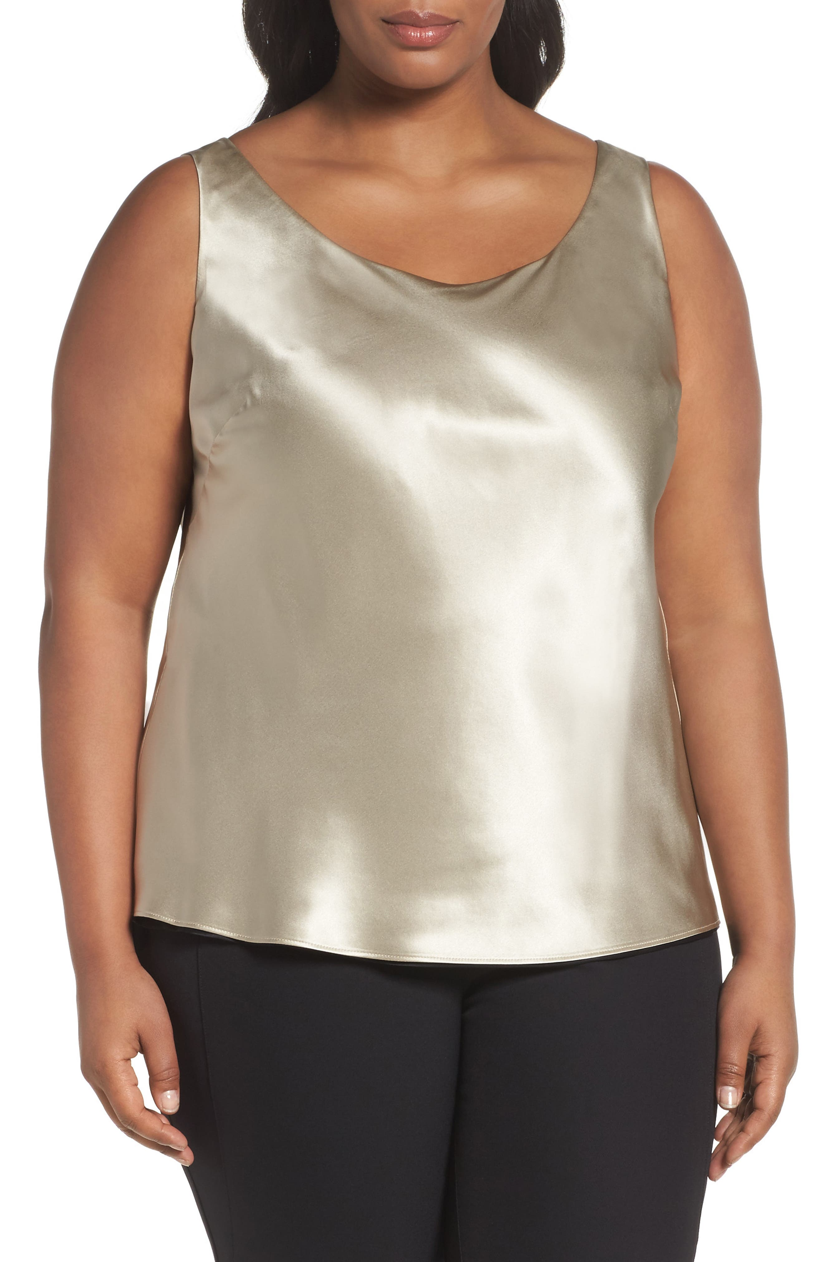 Reversible Silk Tank,                         Main,                         color, Khaki/ Black