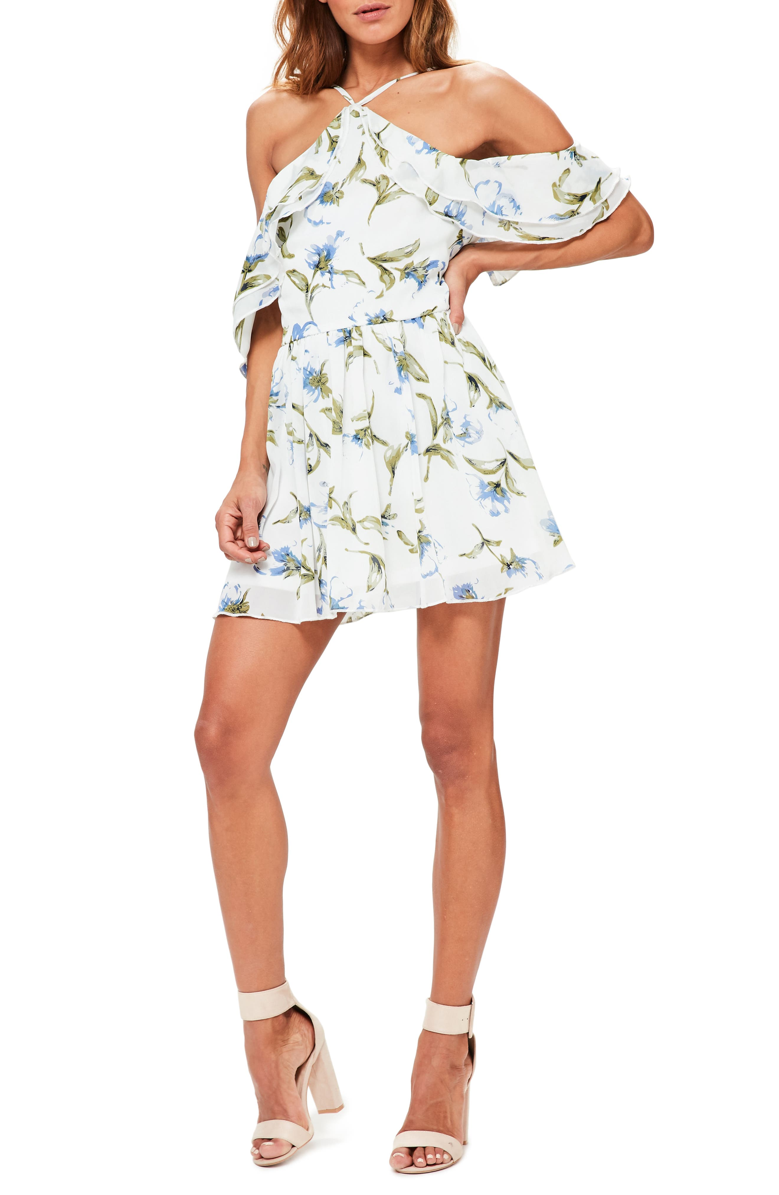 Floral Off the Shoulder Minidress,                         Main,                         color, White