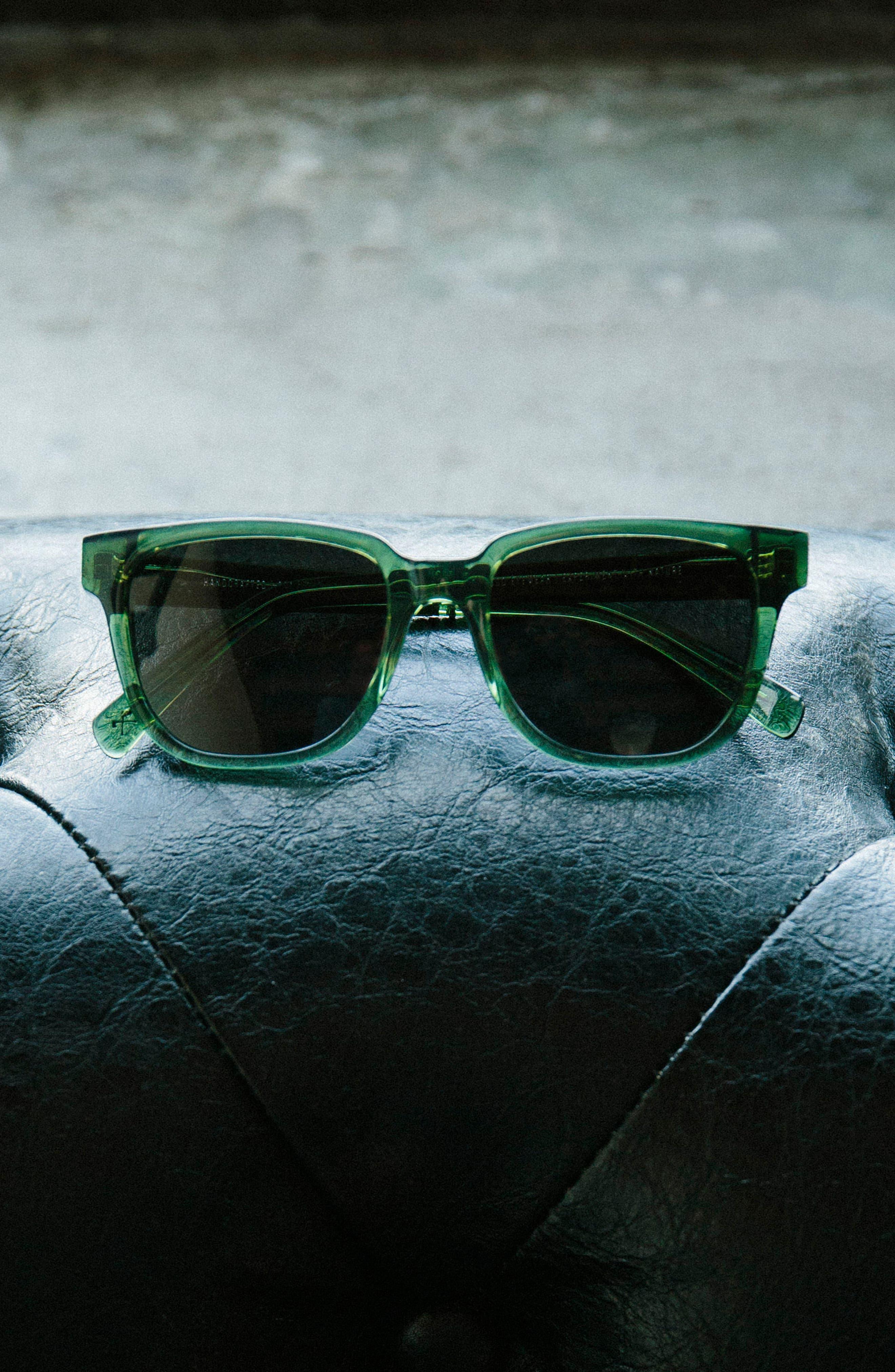 'Prescott' 52mm Acetate & Wood Sunglasses,                             Alternate thumbnail 2, color,                             Emerald/ Elm Burl/ Grey