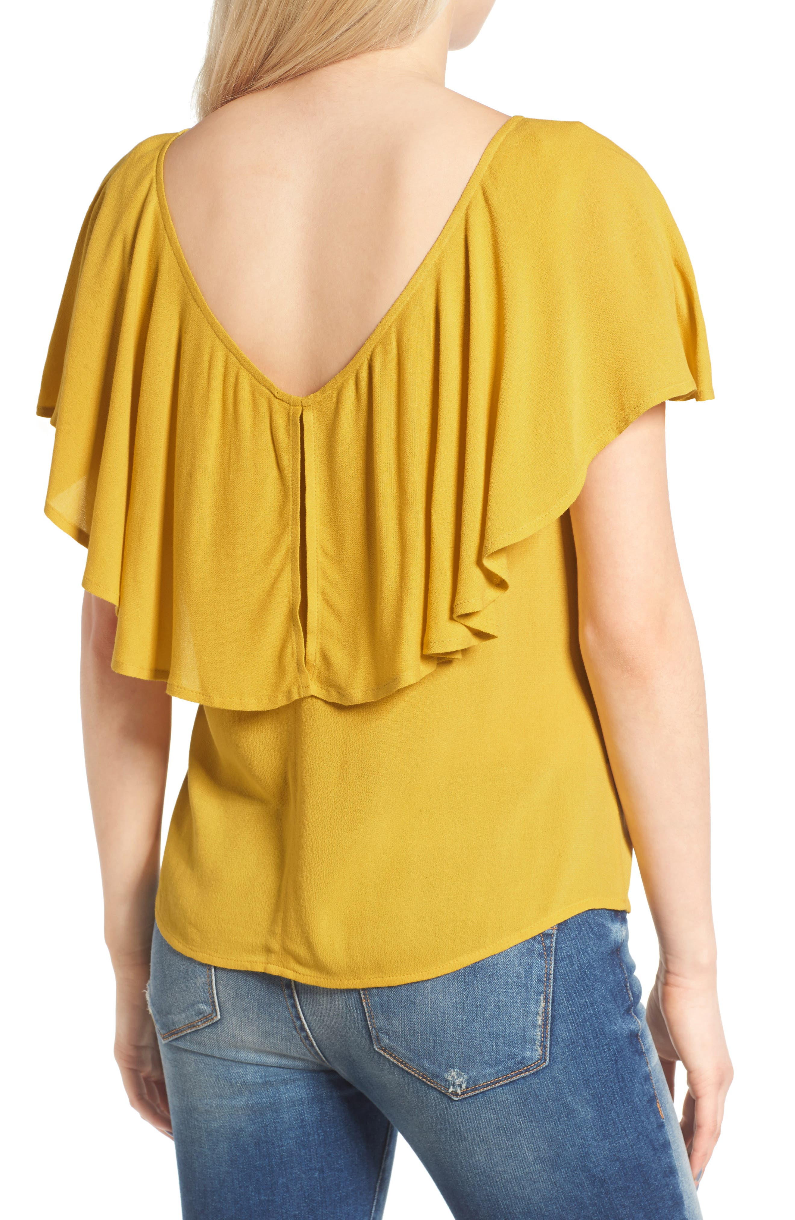 Ruffle Top,                             Alternate thumbnail 3, color,                             Olive Curry