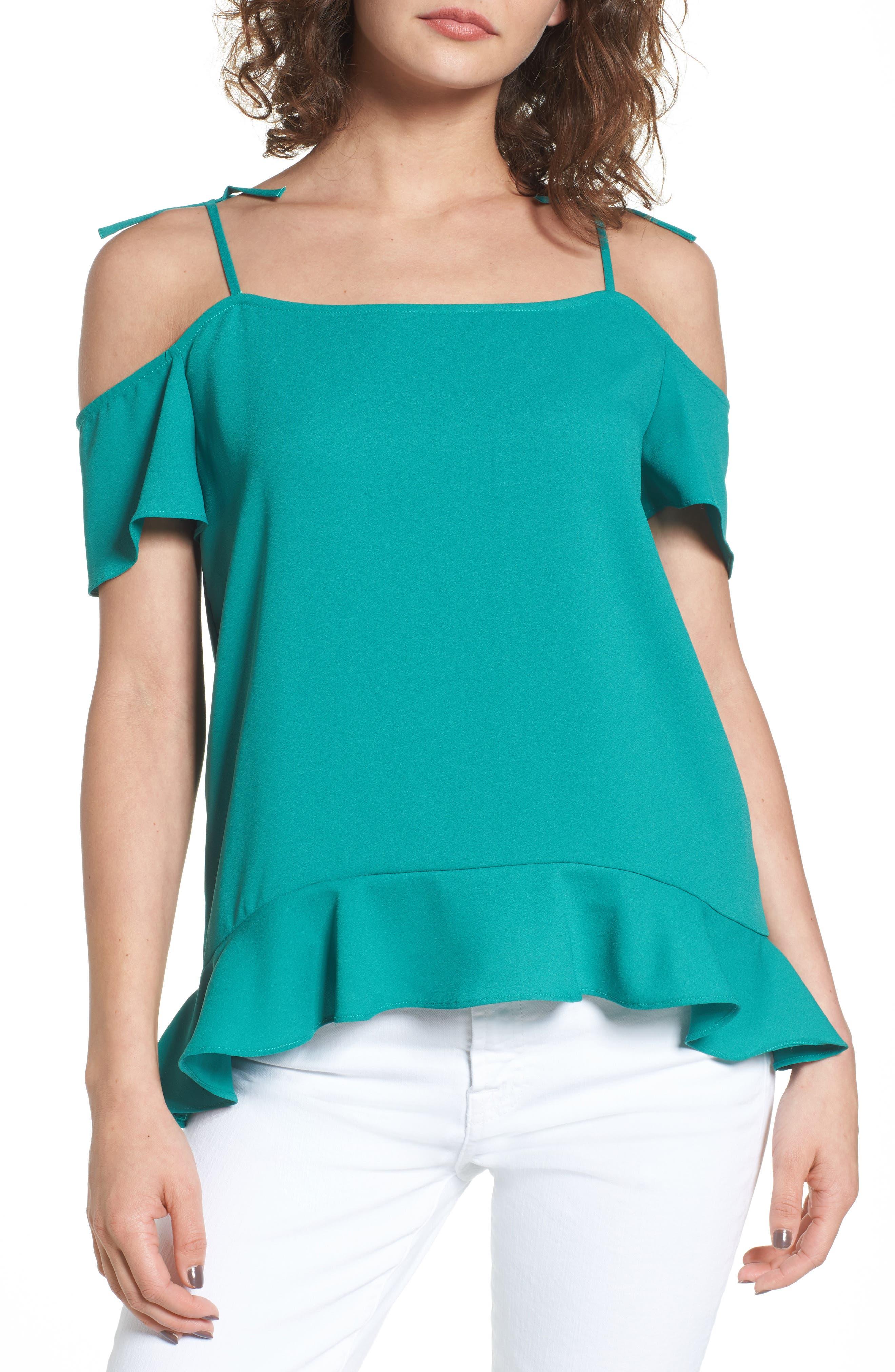 Maja Cold Shoulder Blouse,                         Main,                         color, Pine Green