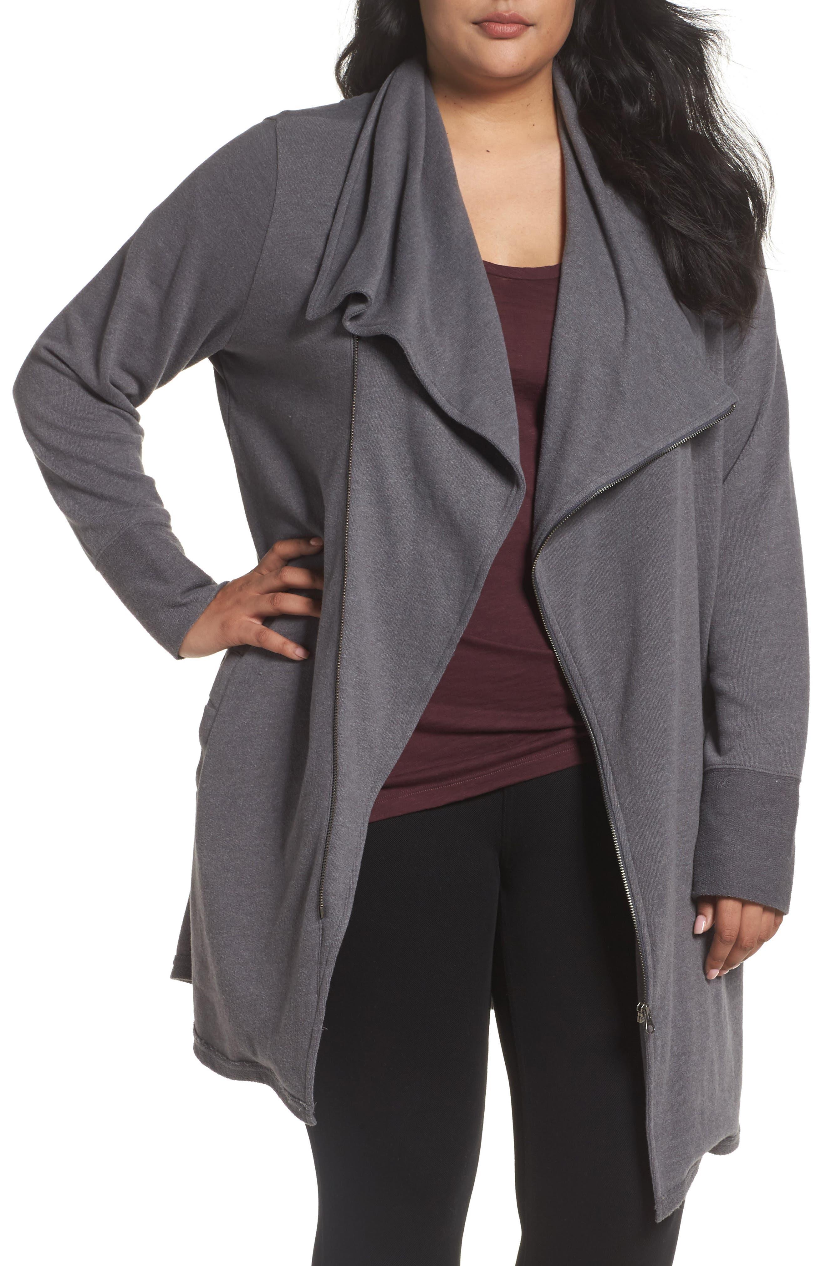 CASLON<SUP>®</SUP> Asymmetrical Zip Long Cardigan