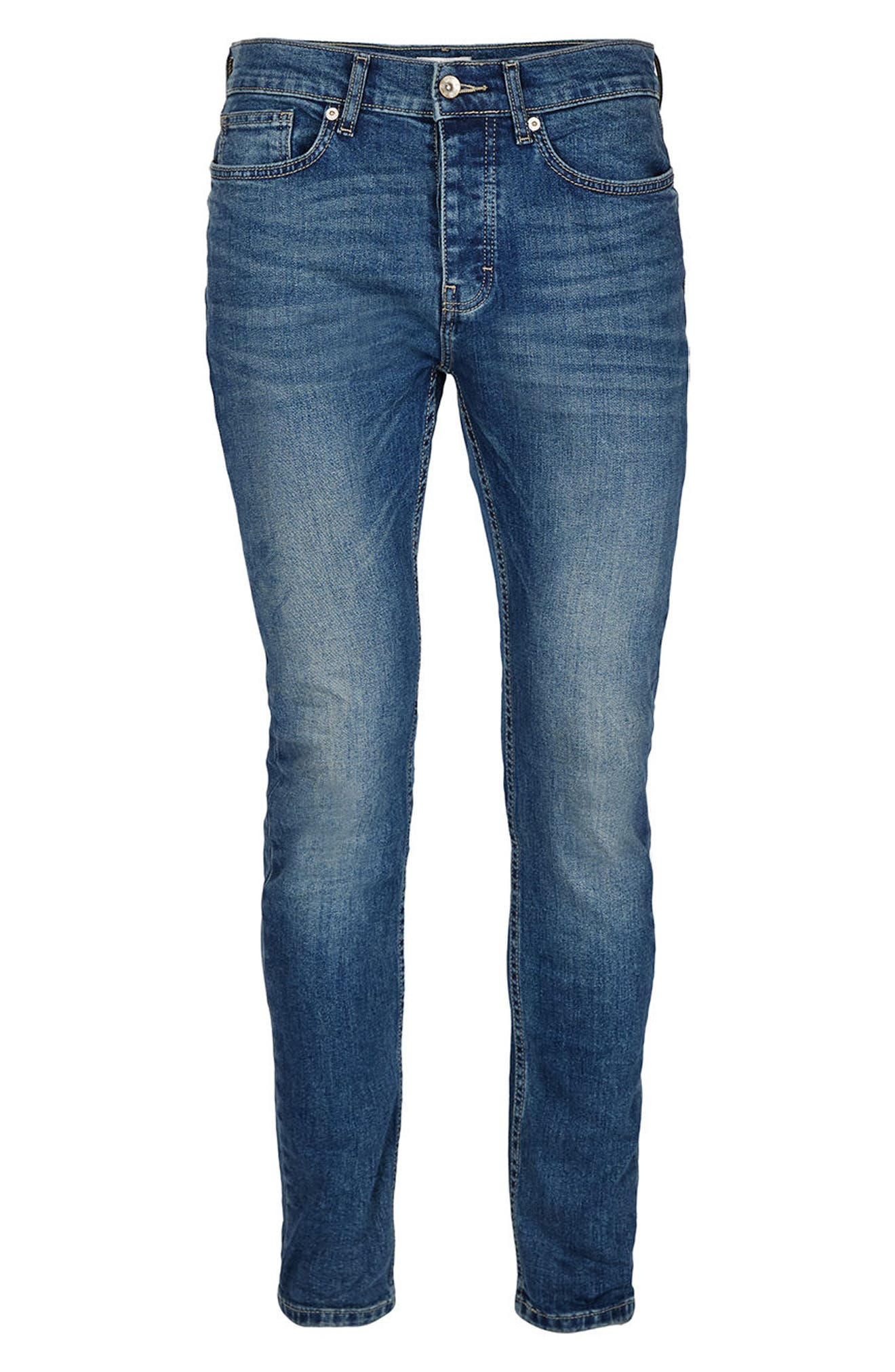 Stretch Skinny Jeans,                             Alternate thumbnail 4, color,                             Mid Blue