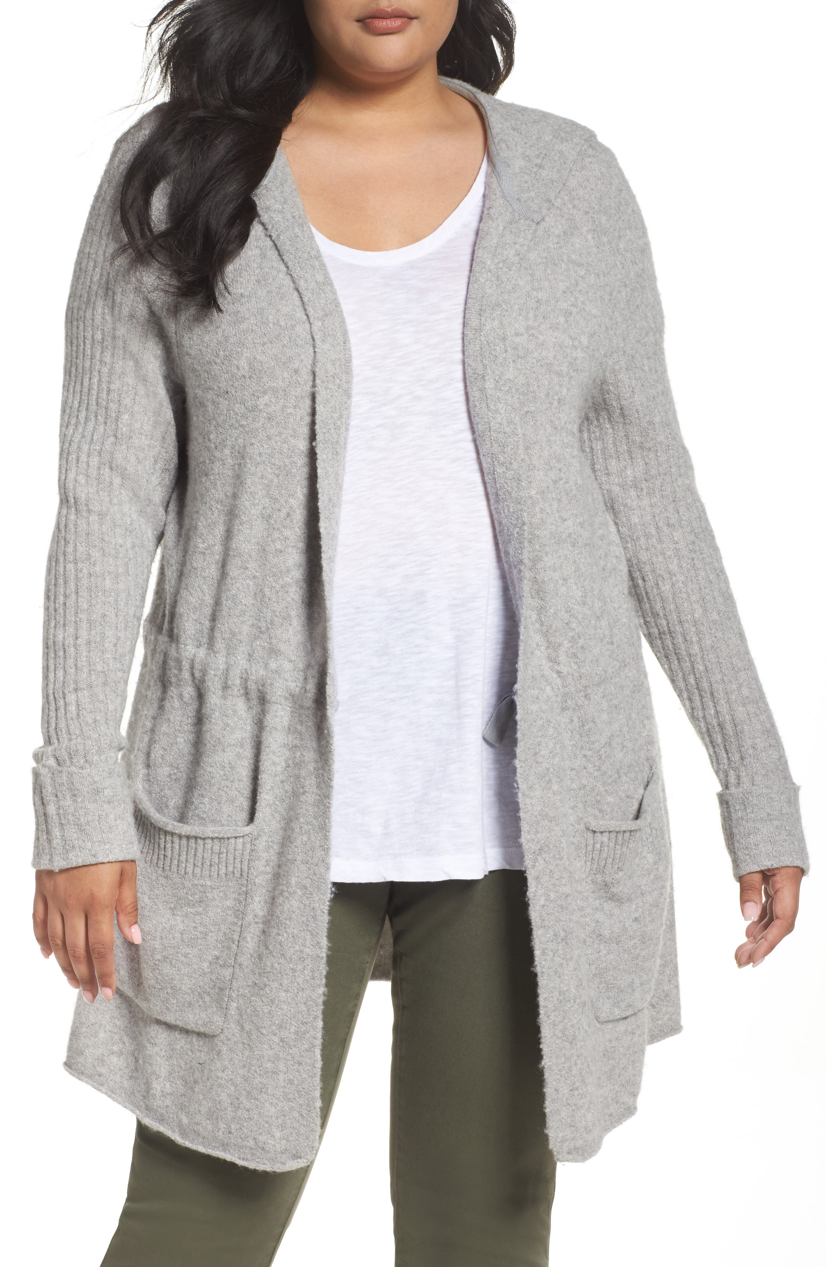 Caslon® Hooded Cardigan (Plus Size)