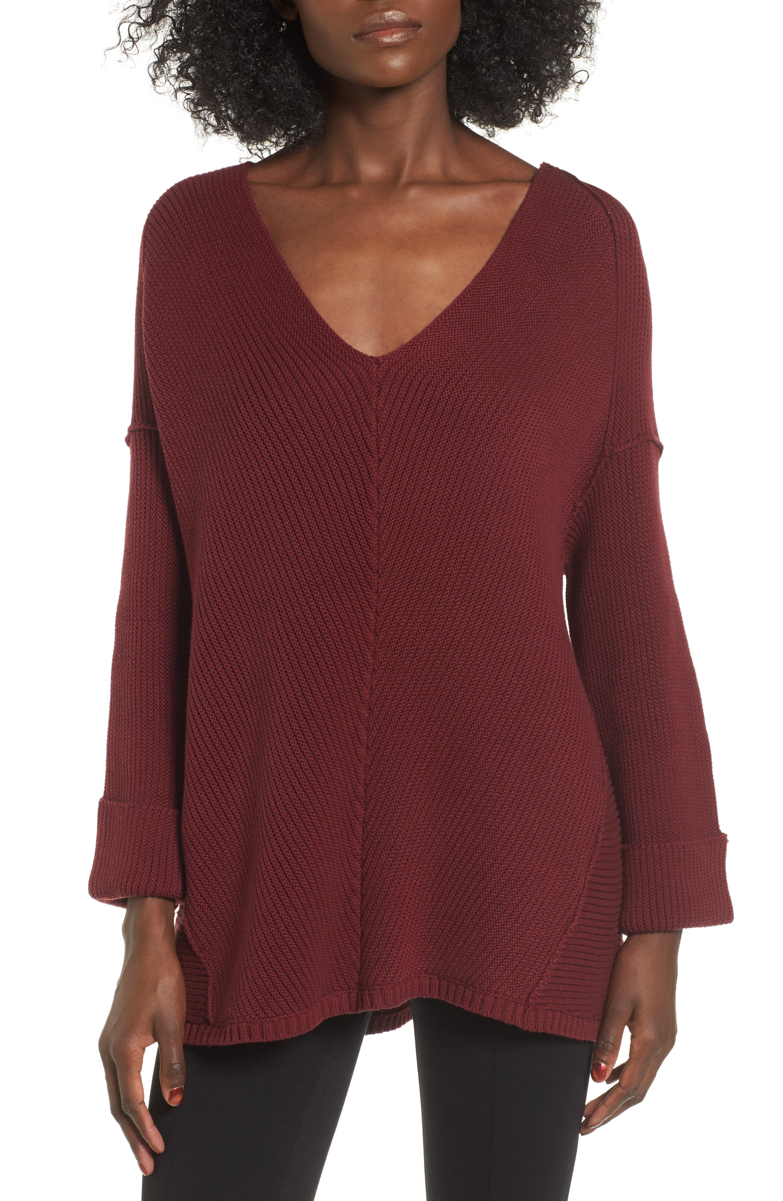 Cuff Sleeve Pullover,                         Main,                         color, Zinfandel