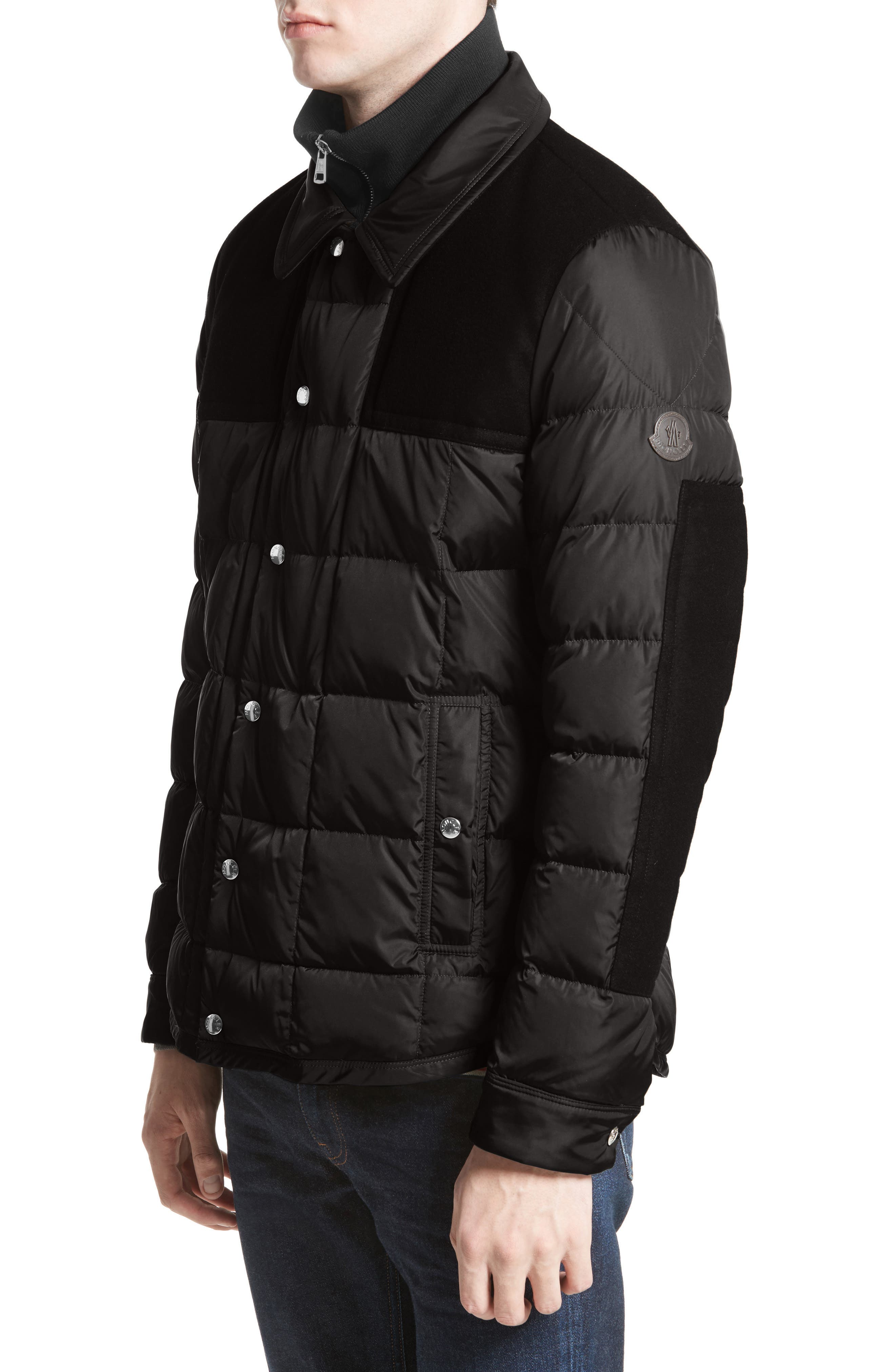 Clovis Mixed Media Quilted Down Jacket,                         Main,                         color, Black