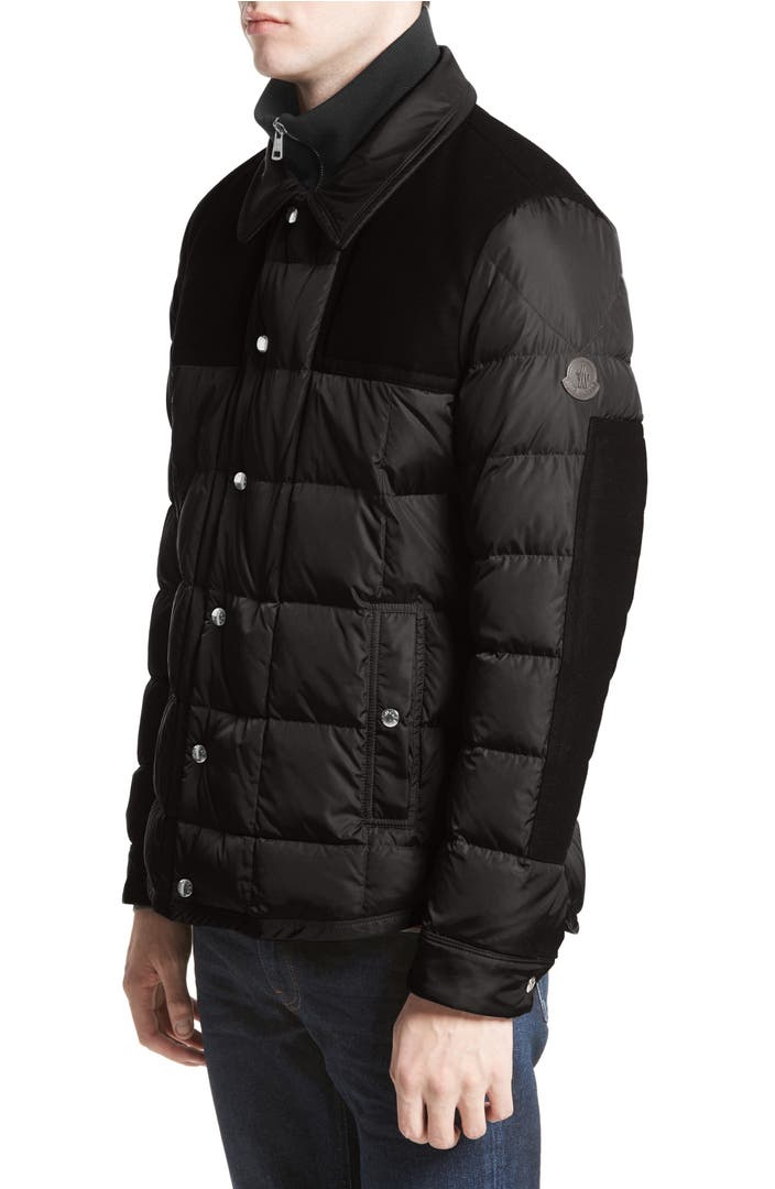 Moncler Clovis Mixed Media Quilted Down Jacket Nordstrom