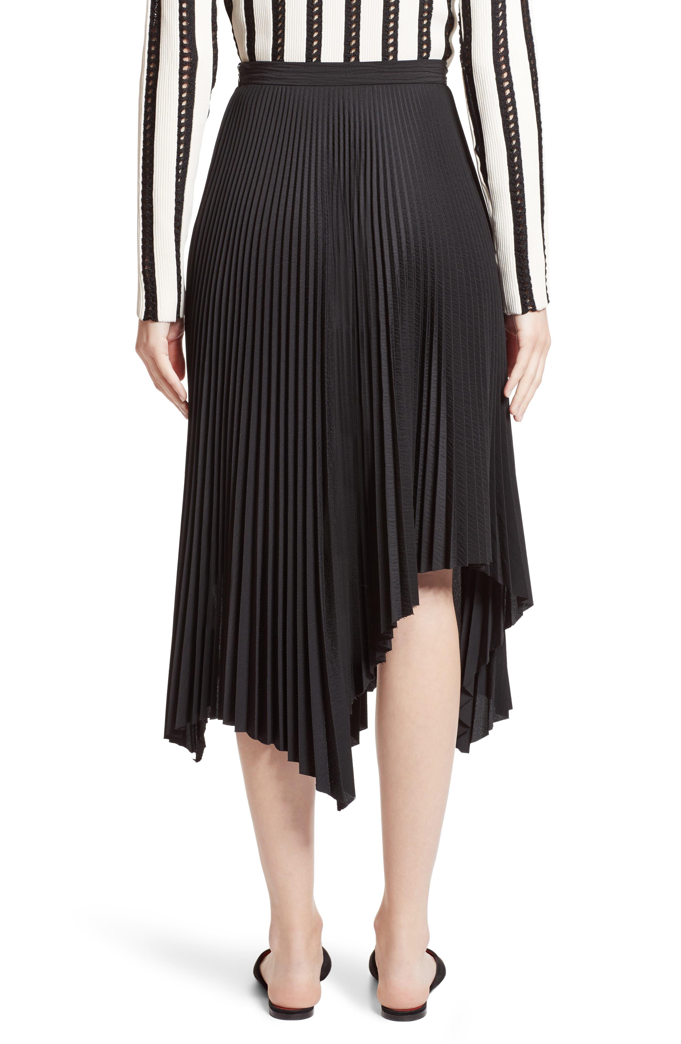 Pleated Handkerchief Hem Skirt,                             Alternate thumbnail 2, color,                             Black