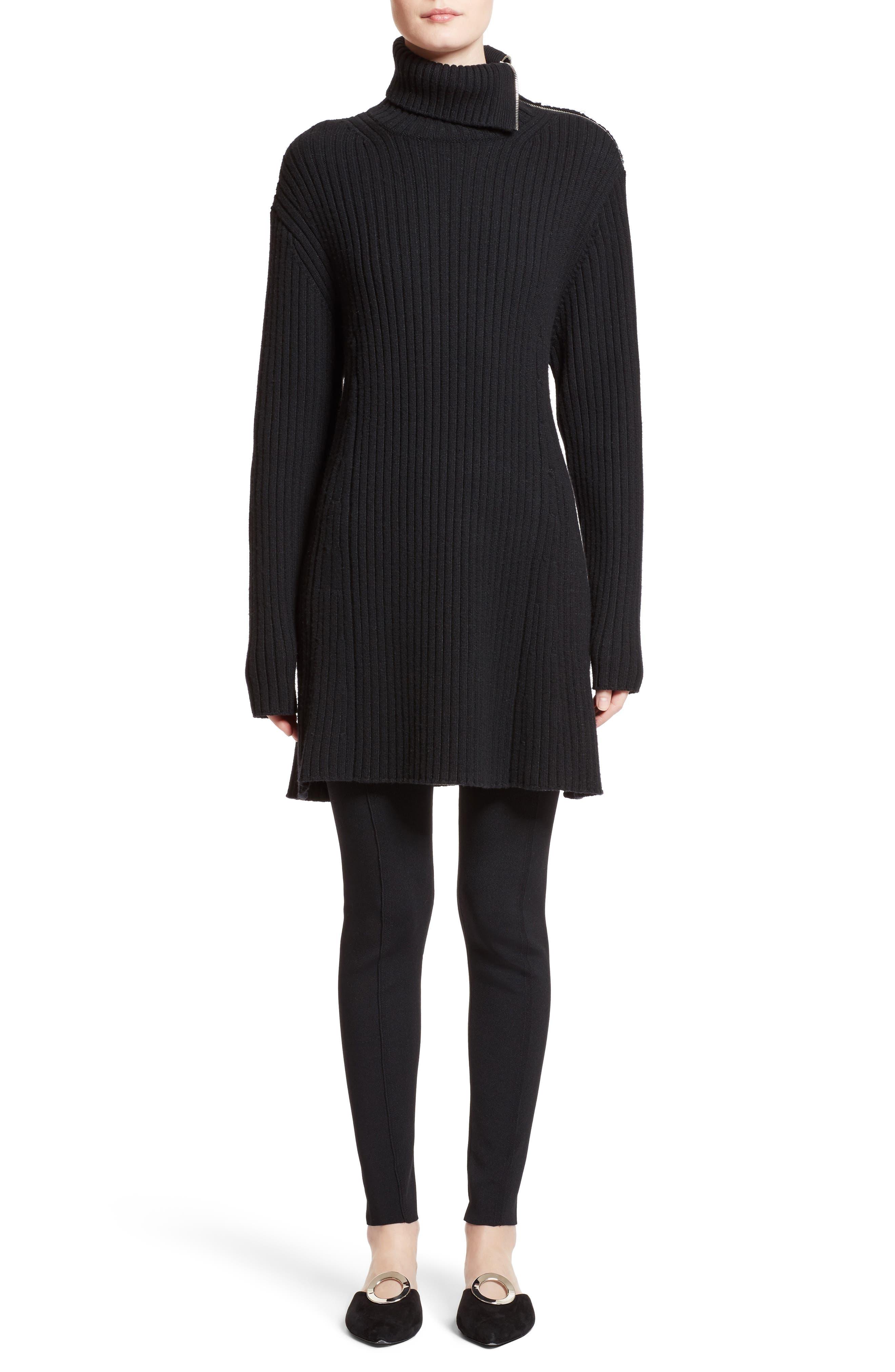Wool & Cashmere Blend Turtleneck Dress,                             Alternate thumbnail 7, color,                             Black