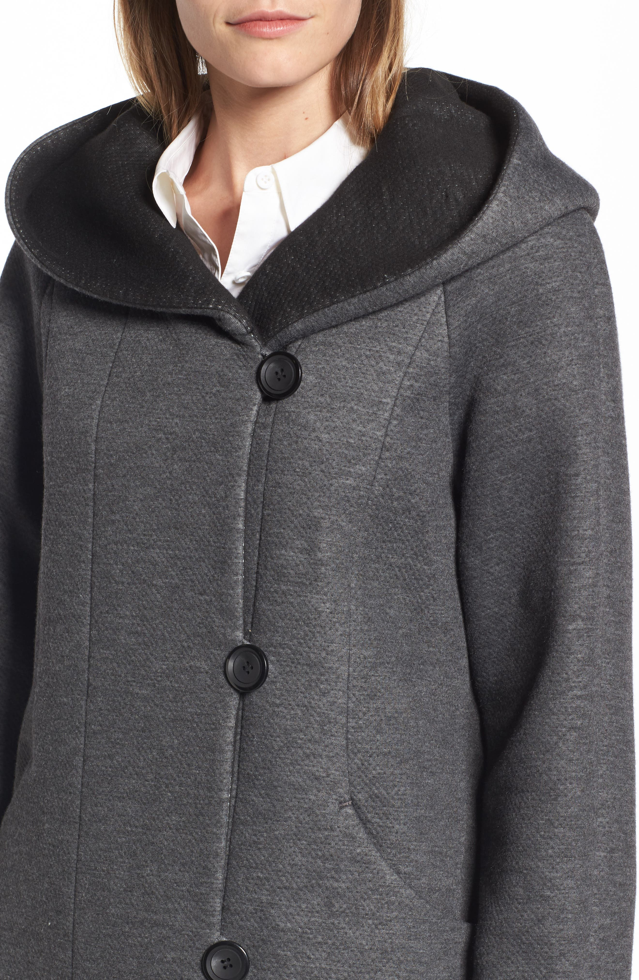 Hooded Double Face Knit Coat,                             Alternate thumbnail 4, color,                             Dark Heather
