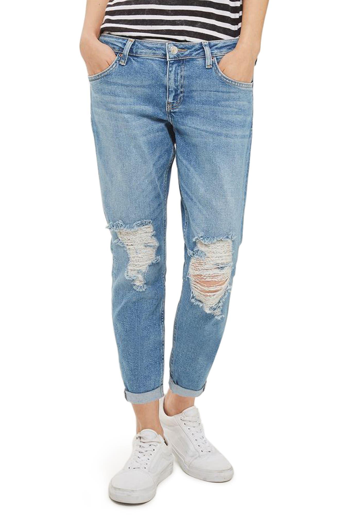 Topshop Lucas Rip Boyfriend Jeans (Petite)