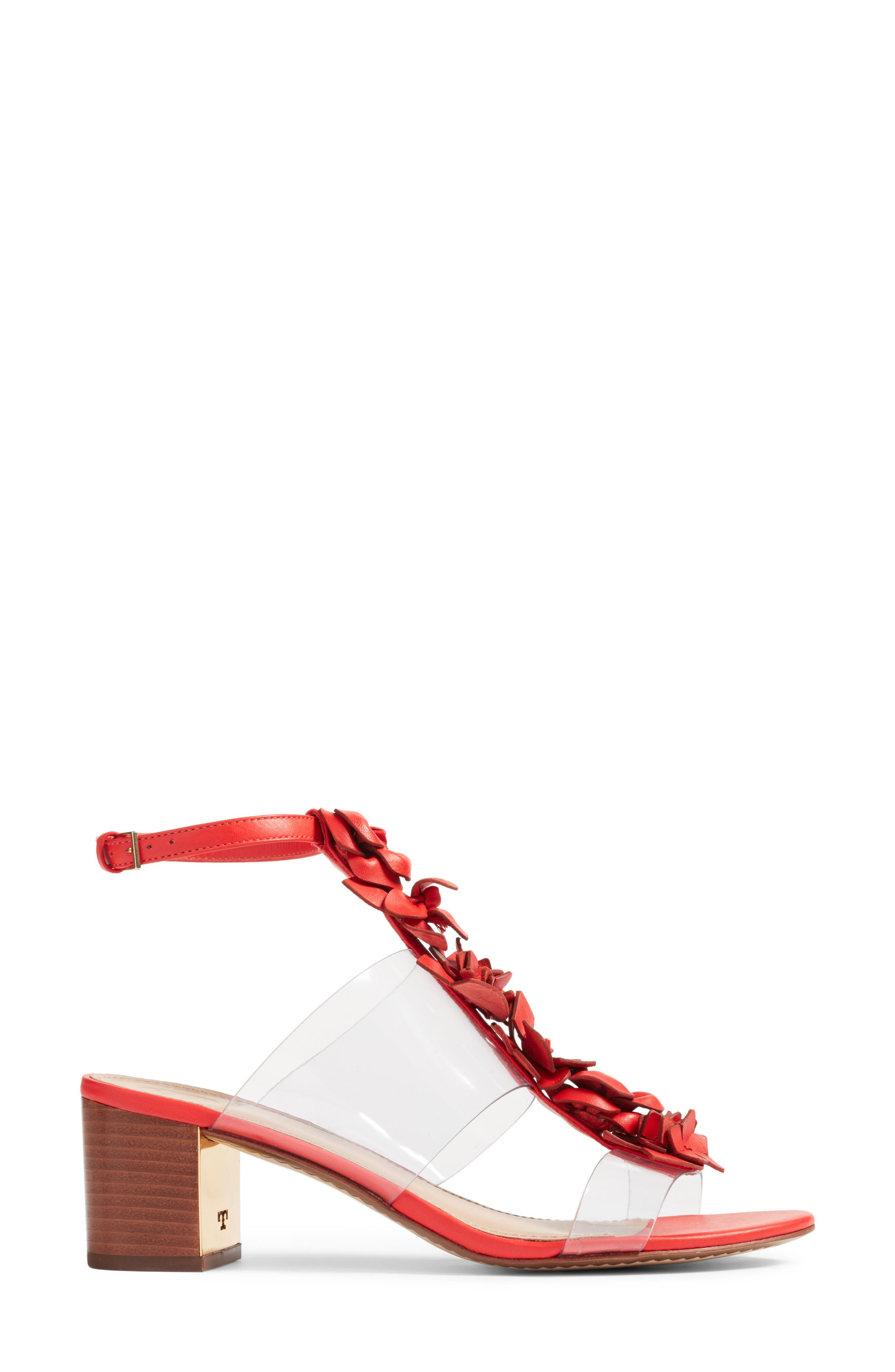 Blossom Sandal,                             Alternate thumbnail 4, color,                             Red Volcano/ Clear
