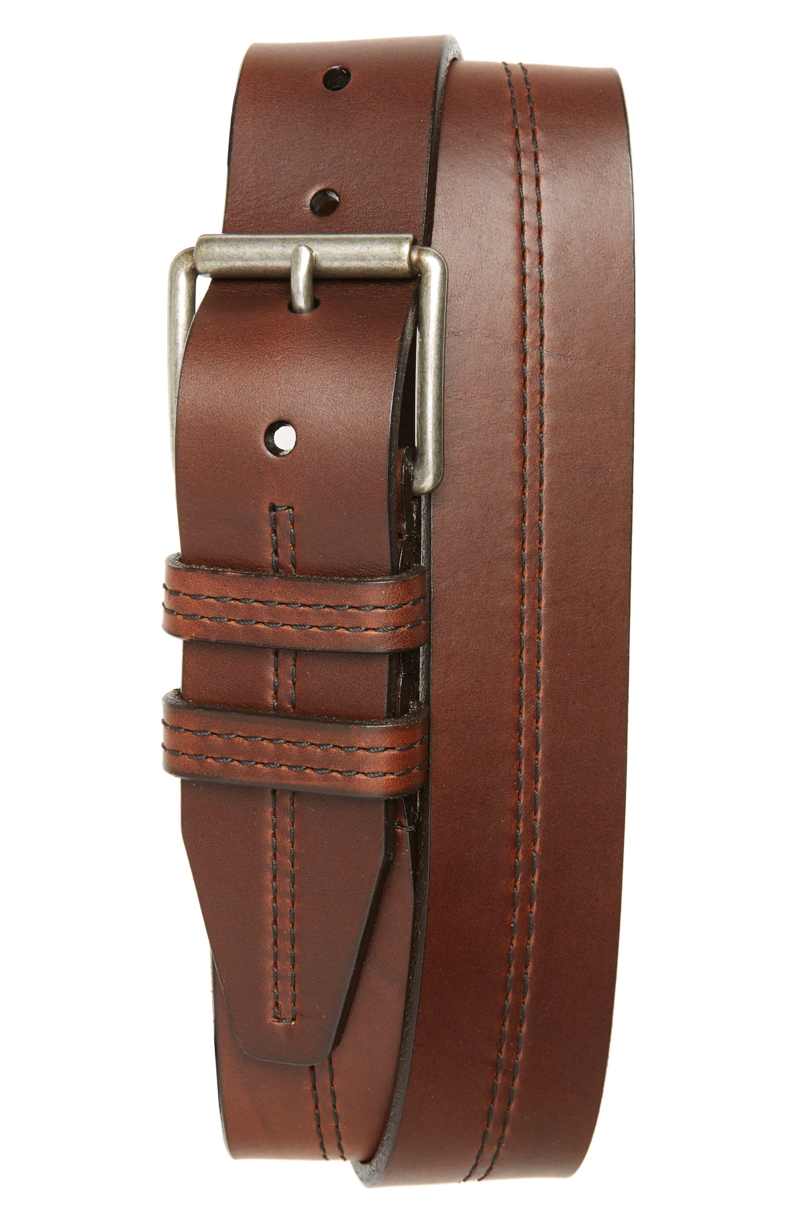 Alternate Image 1 Selected - 1901 Mason Center Stitch Horween® Leather Belt