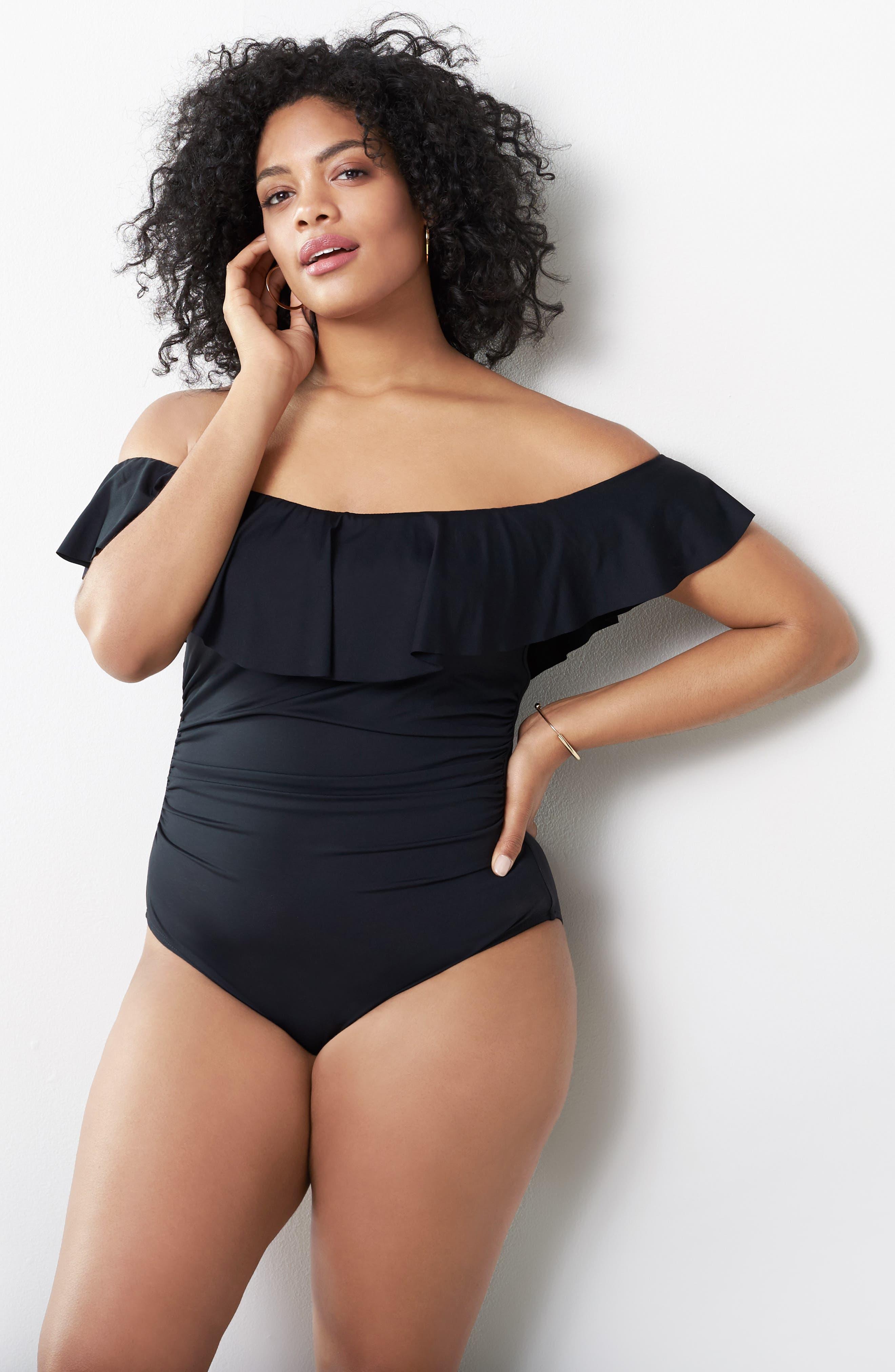 Alternate Image 7  - La Blanca Off the Shoulder One-Piece Swimsuit (Plus Size)