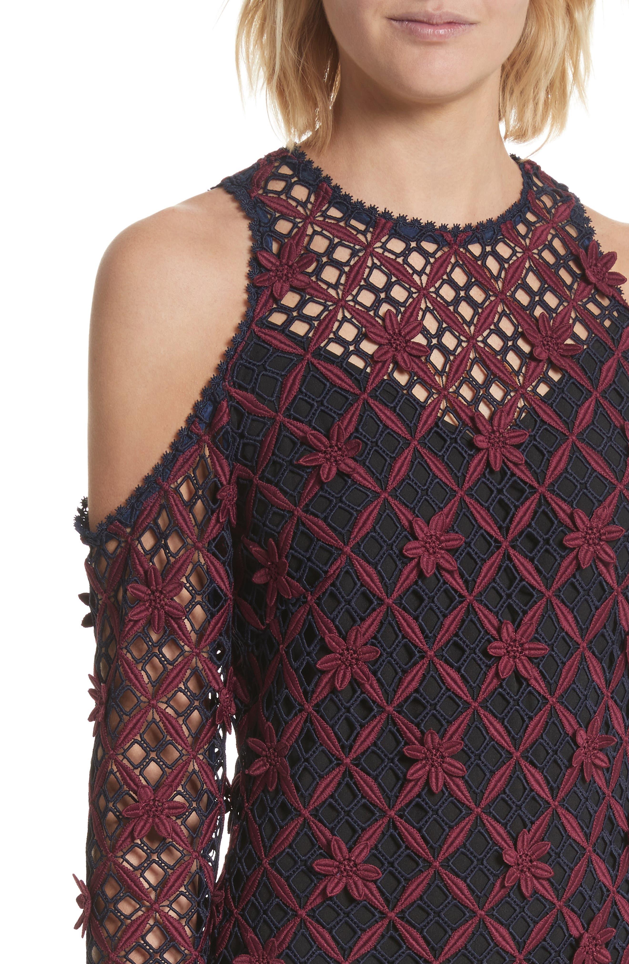 Alternate Image 4  - Self-Portrait Floral Grid Cold Shoulder Dress