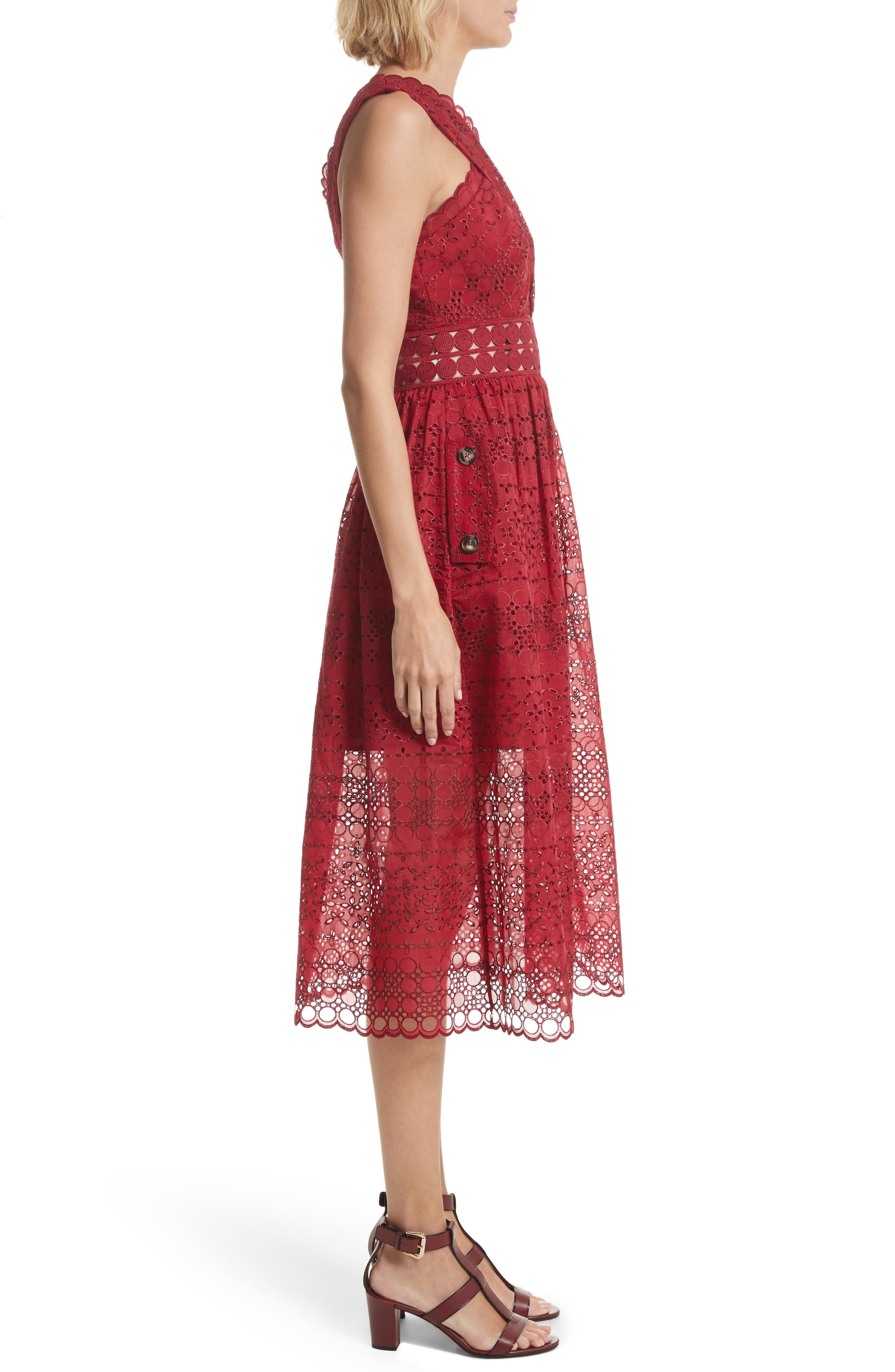 Cutout One-Shoulder Midi Dress,                             Alternate thumbnail 3, color,                             Raspberry Red