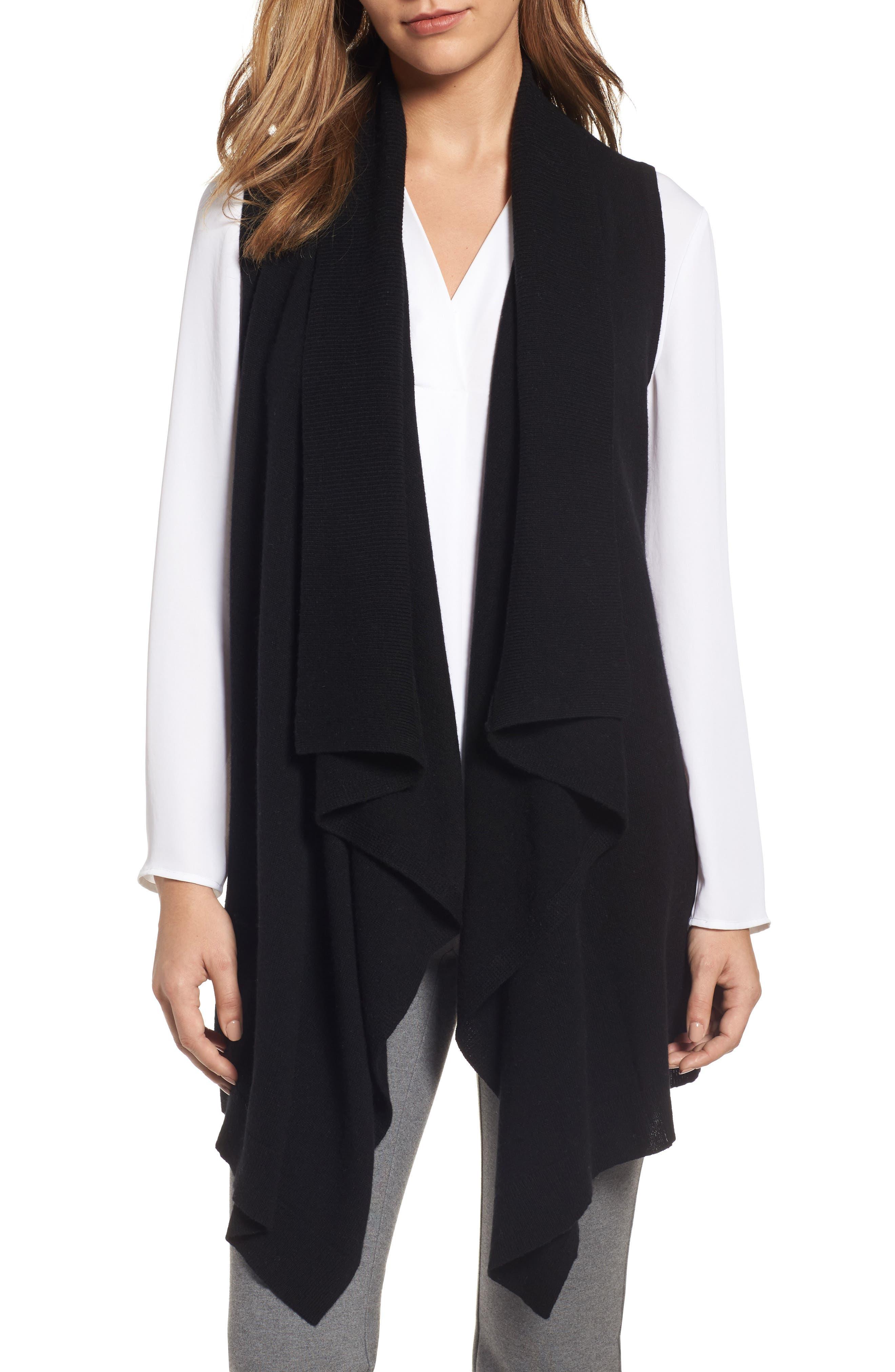 Wool & Cashmere Drape Front Sweater Vest,                             Main thumbnail 1, color,                             Black