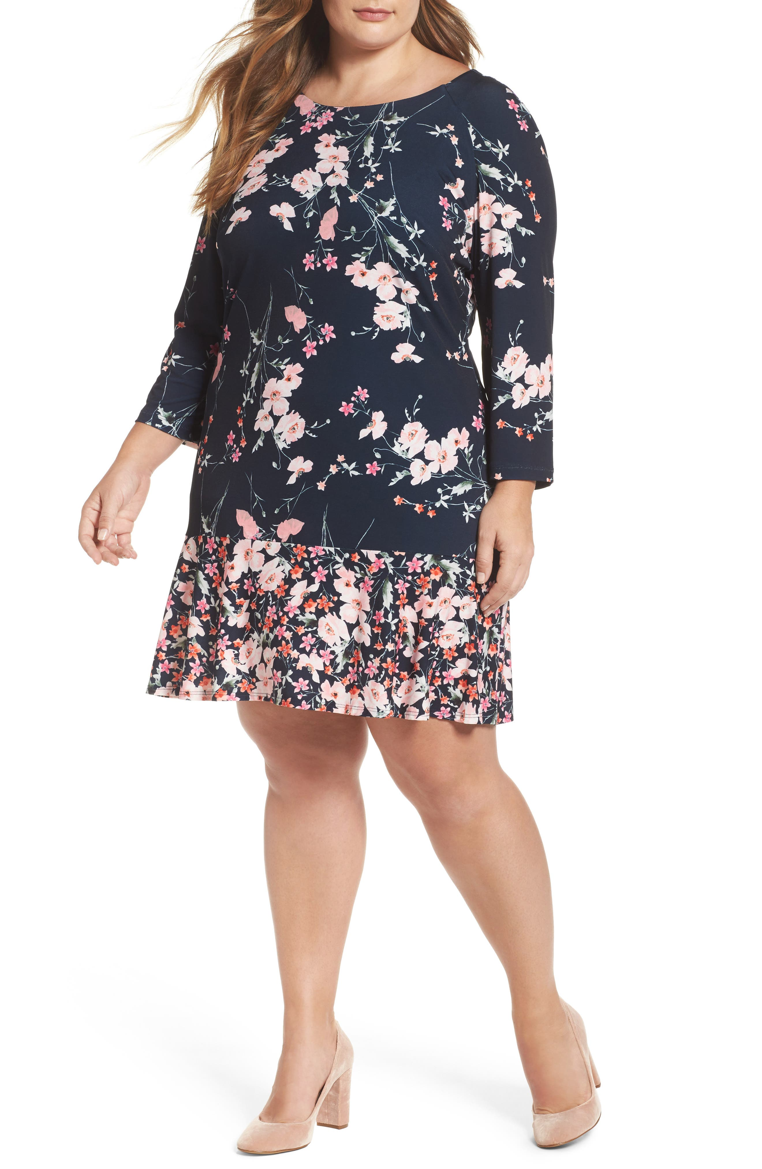 Eliza J Print Jersey Ruffle Hem Sheath Dress (Plus Size)