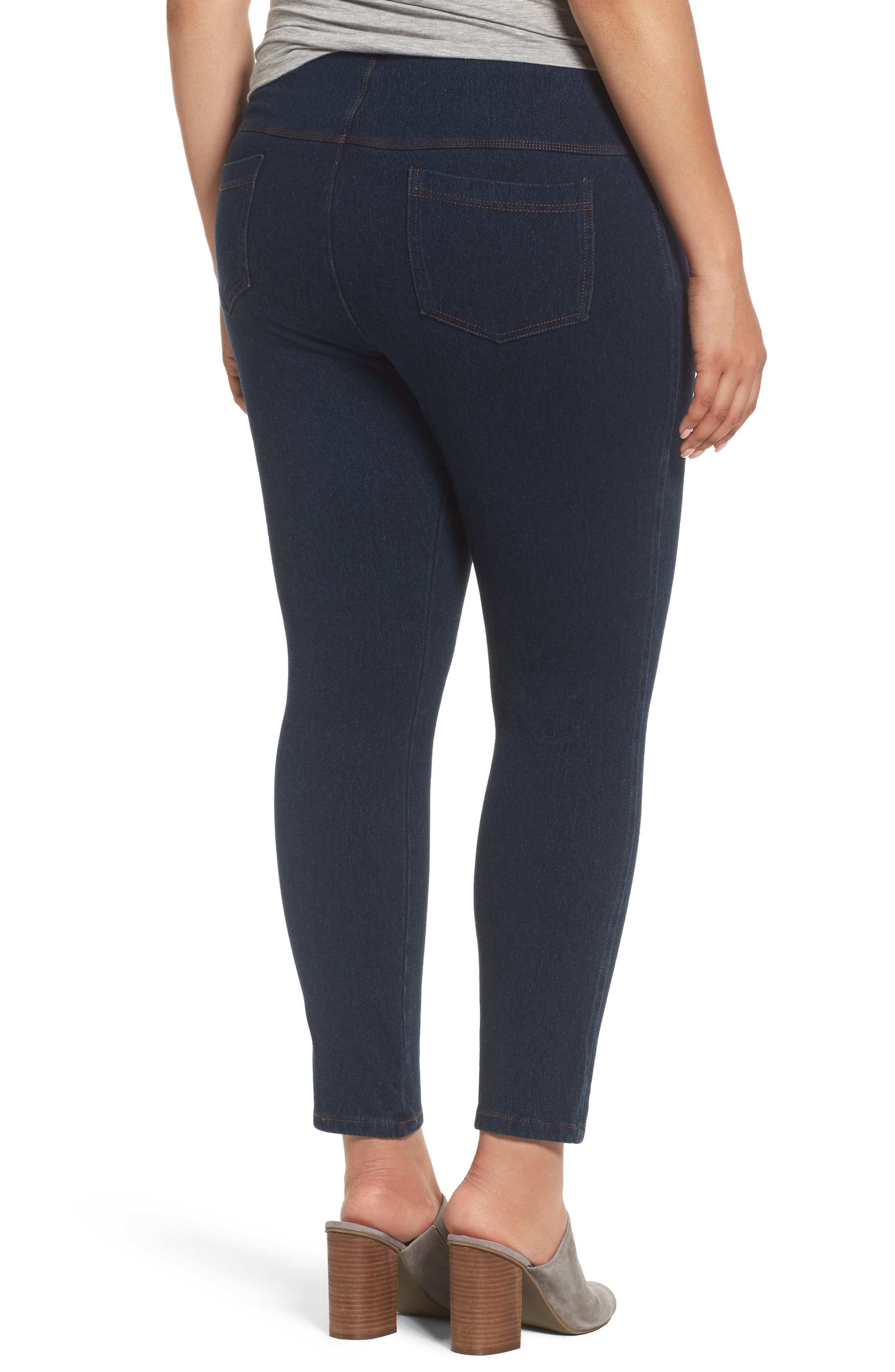 Alternate Image 2  - Lyssè Toothpick Denim Leggings (Plus Size)