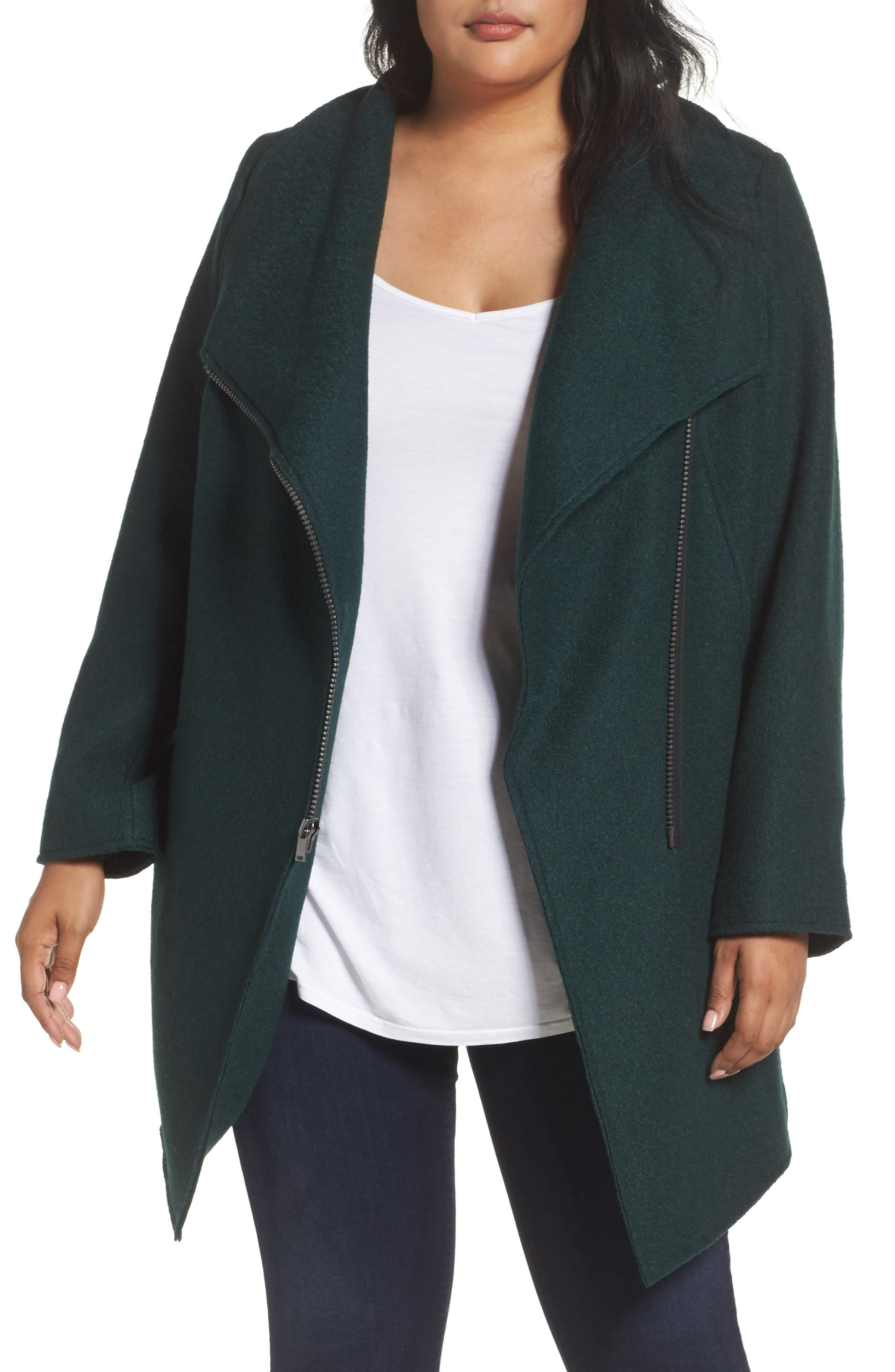 Alternate Image 1 Selected - Halogen® Asymmetrical Zip Boiled Wool Blend Coat (Plus Size)