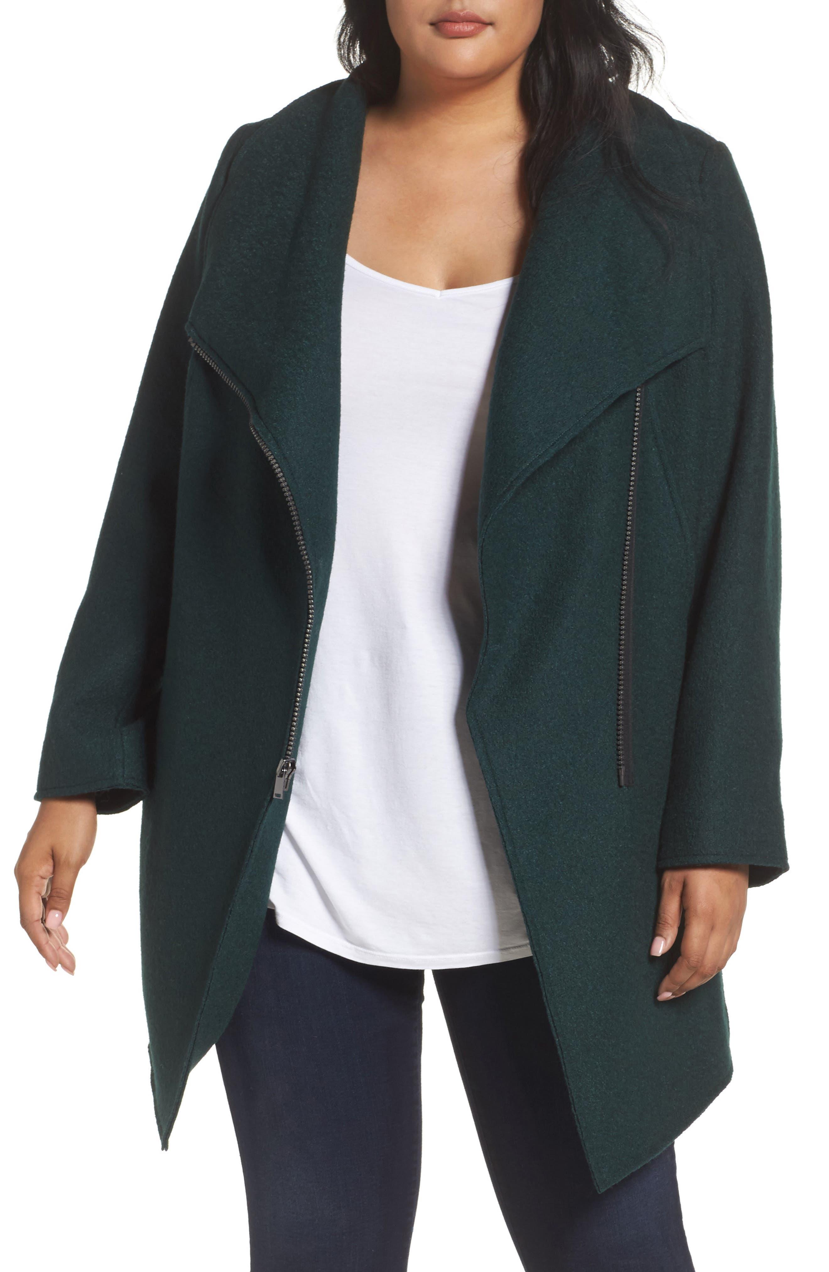 Main Image - Halogen® Asymmetrical Zip Boiled Wool Blend Coat (Plus Size)