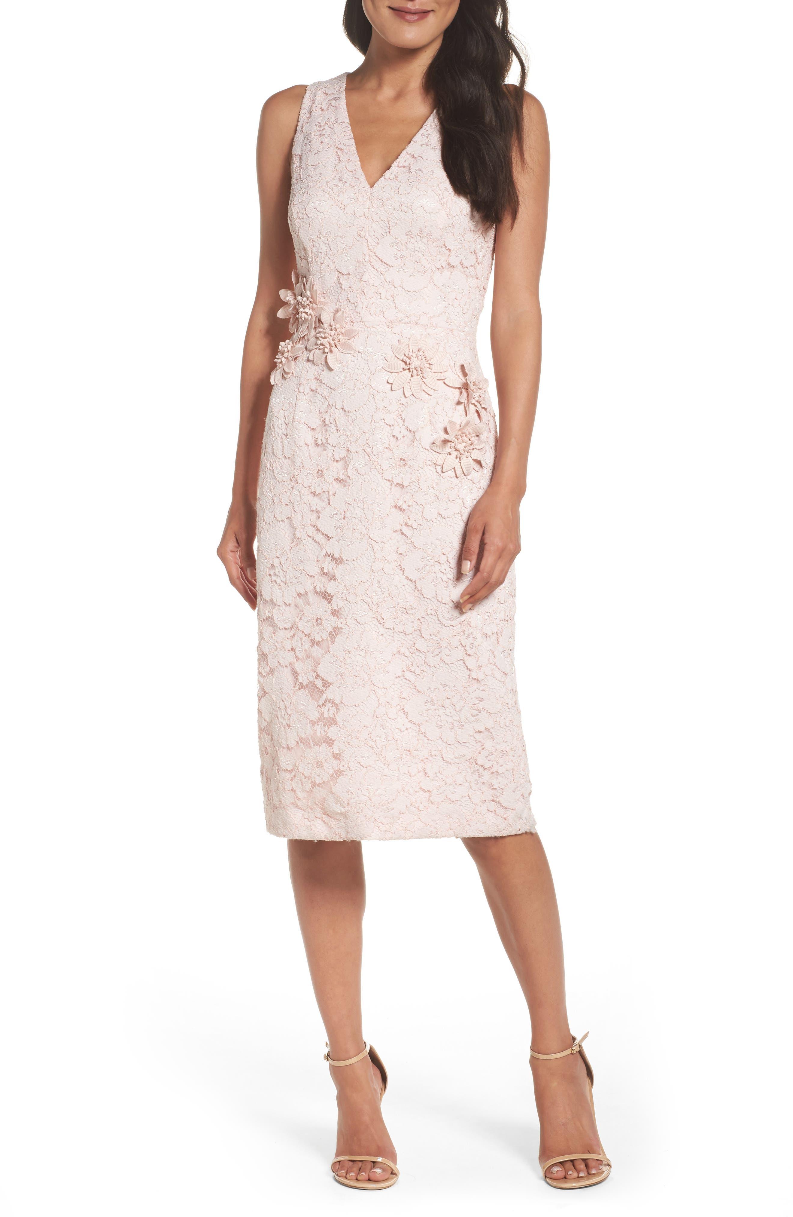 Appliqué Lace Sheath Dress,                             Main thumbnail 1, color,                             Rose