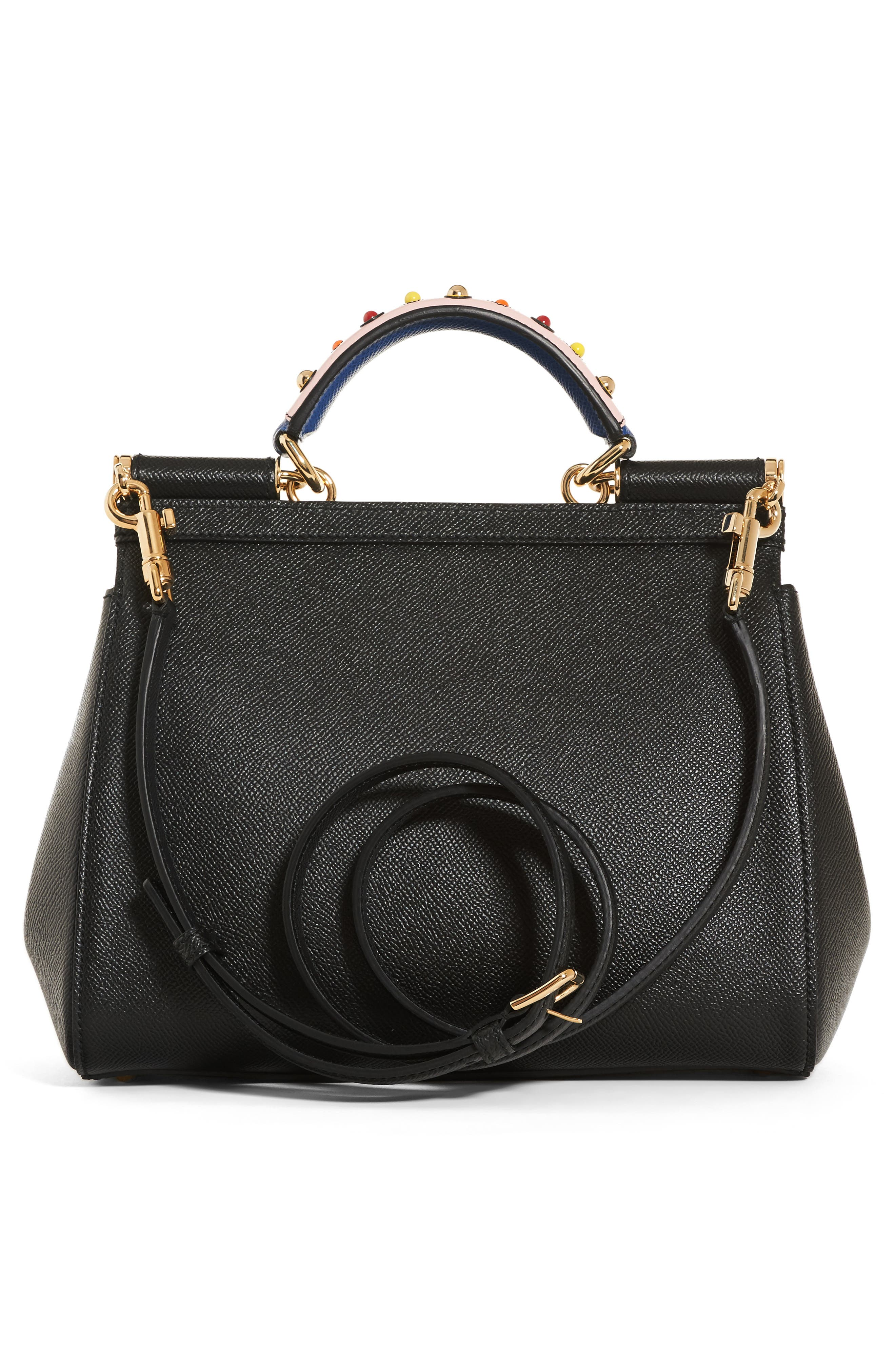 Small Miss Sicily Embellished Top Handle Leather Satchel,                             Alternate thumbnail 2, color,                             Black