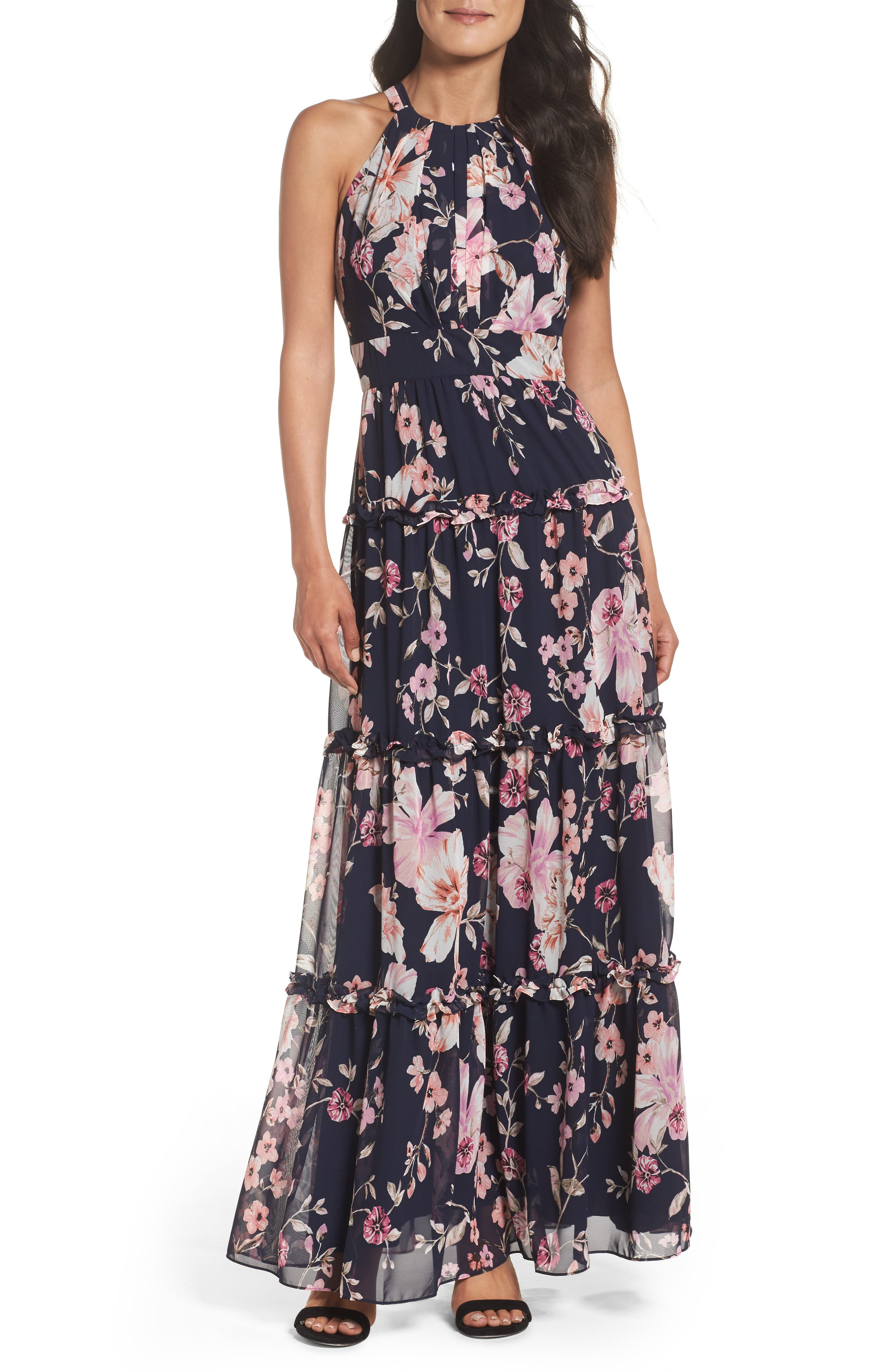 Floral Halter Maxi Dress,                         Main,                         color, Navy/ Pink