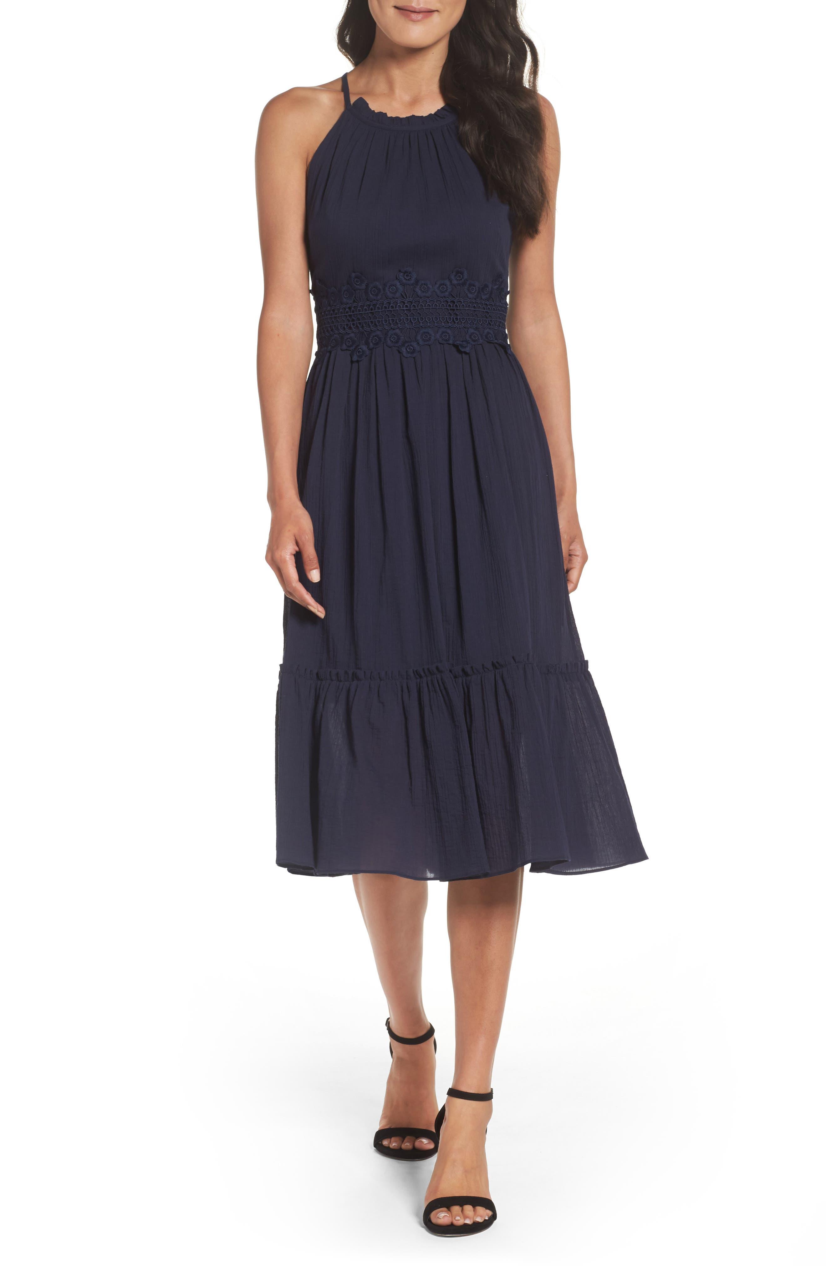 Halter Midi Dress,                         Main,                         color, Navy