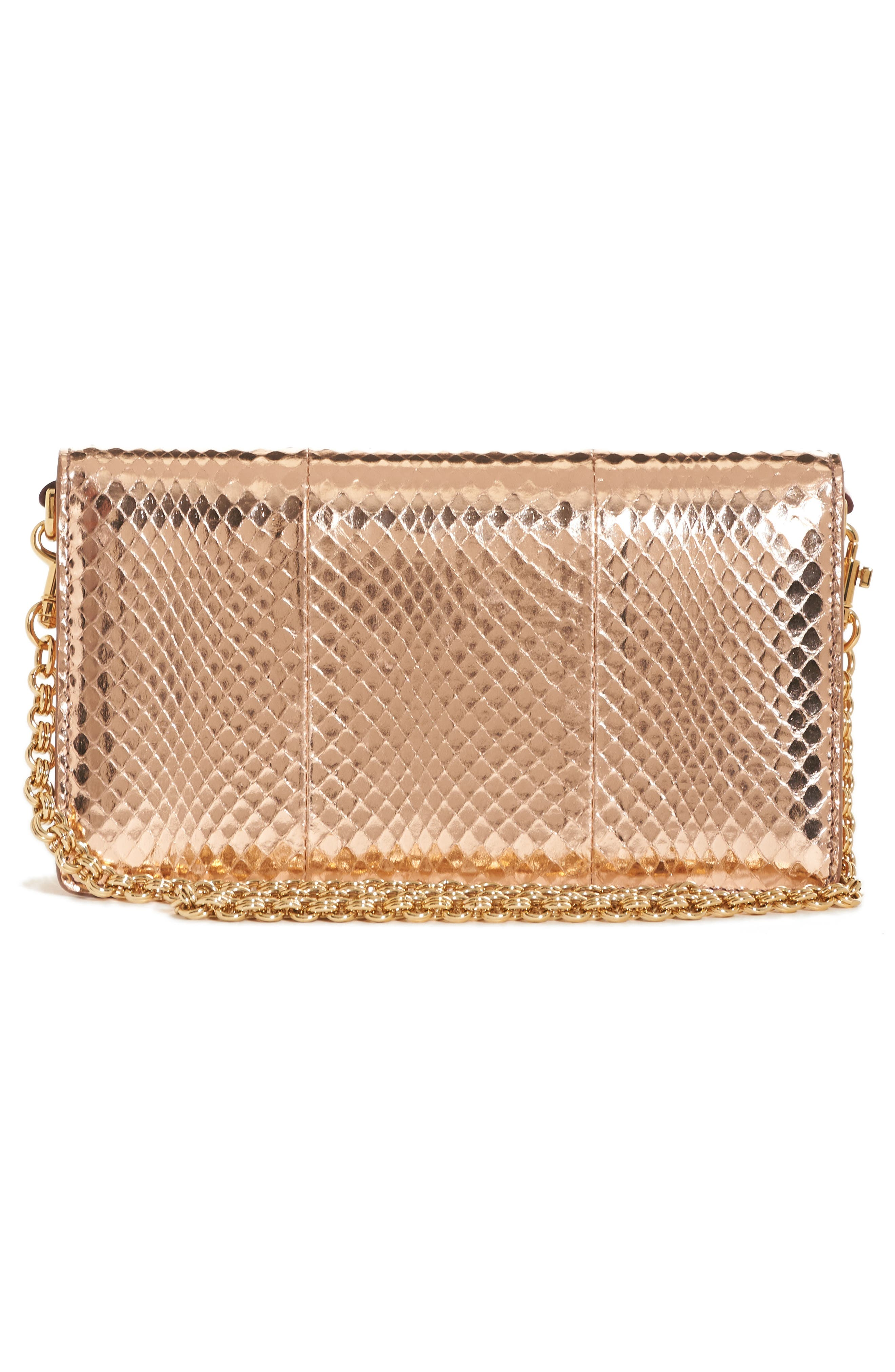 Lucia Genuine Snakeskin Crossbody Clutch,                             Alternate thumbnail 3, color,                             Salmon