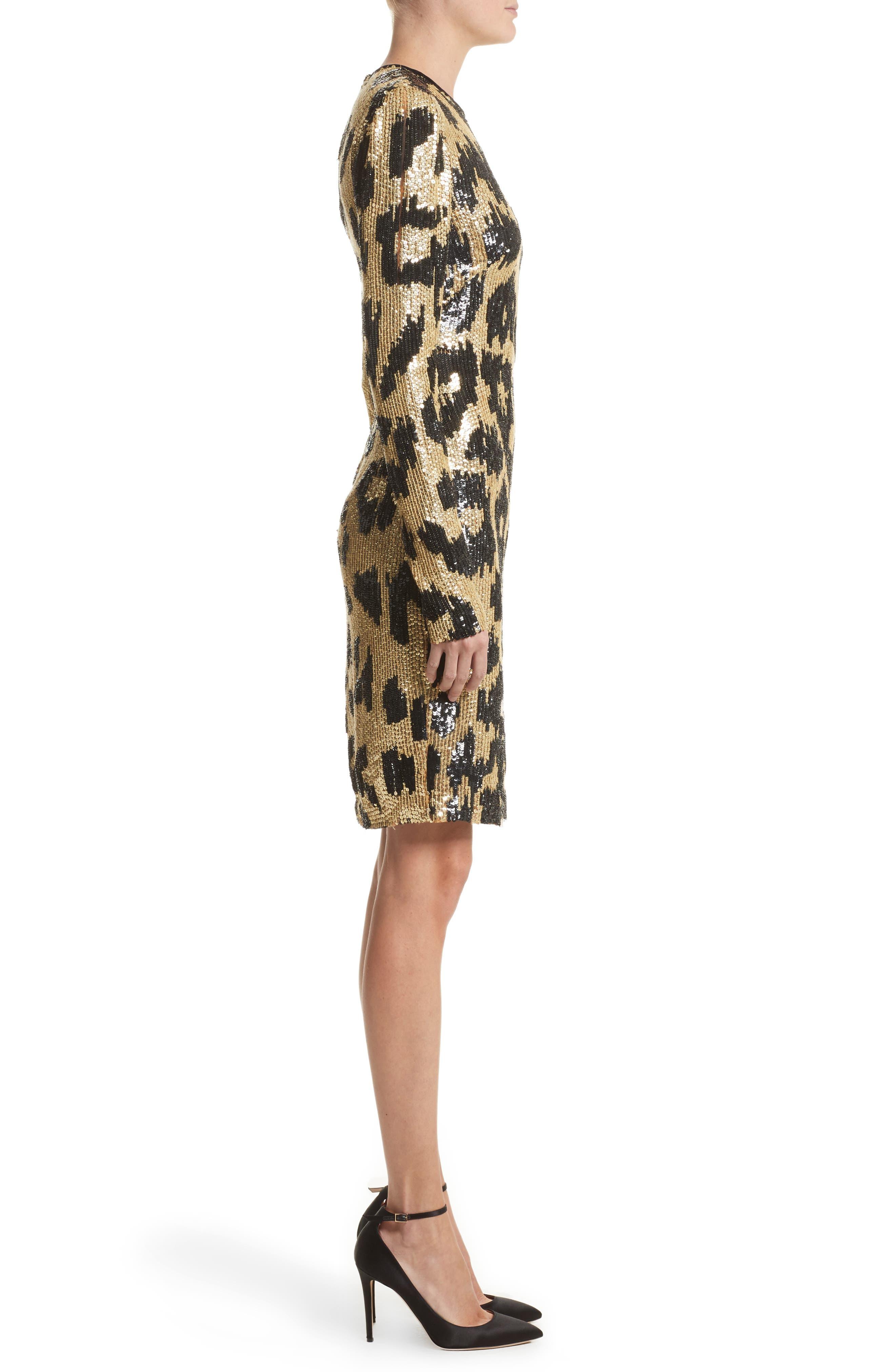 Alternate Image 3  - Naeem Khan Cheetah Print Sequin Sheath Dress