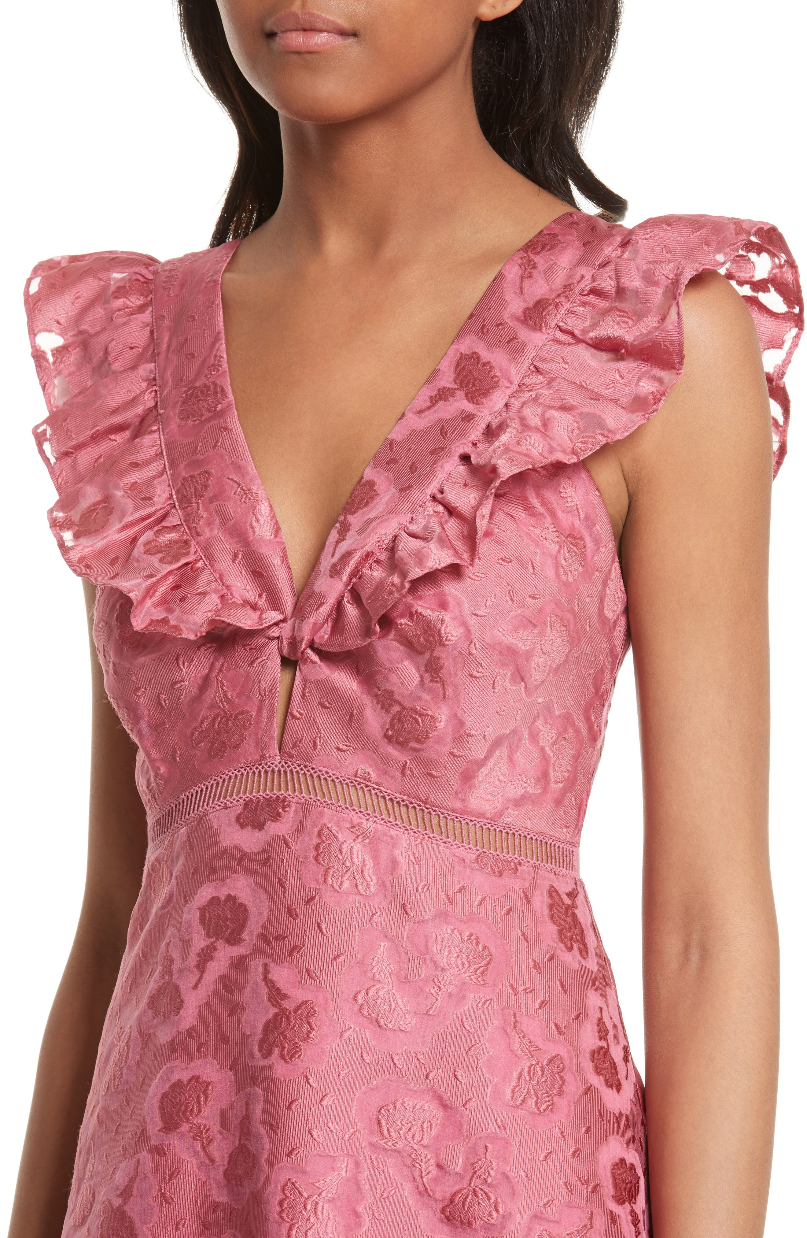 Aly Floral Jacquard Dress,                             Alternate thumbnail 4, color,                             Bloom