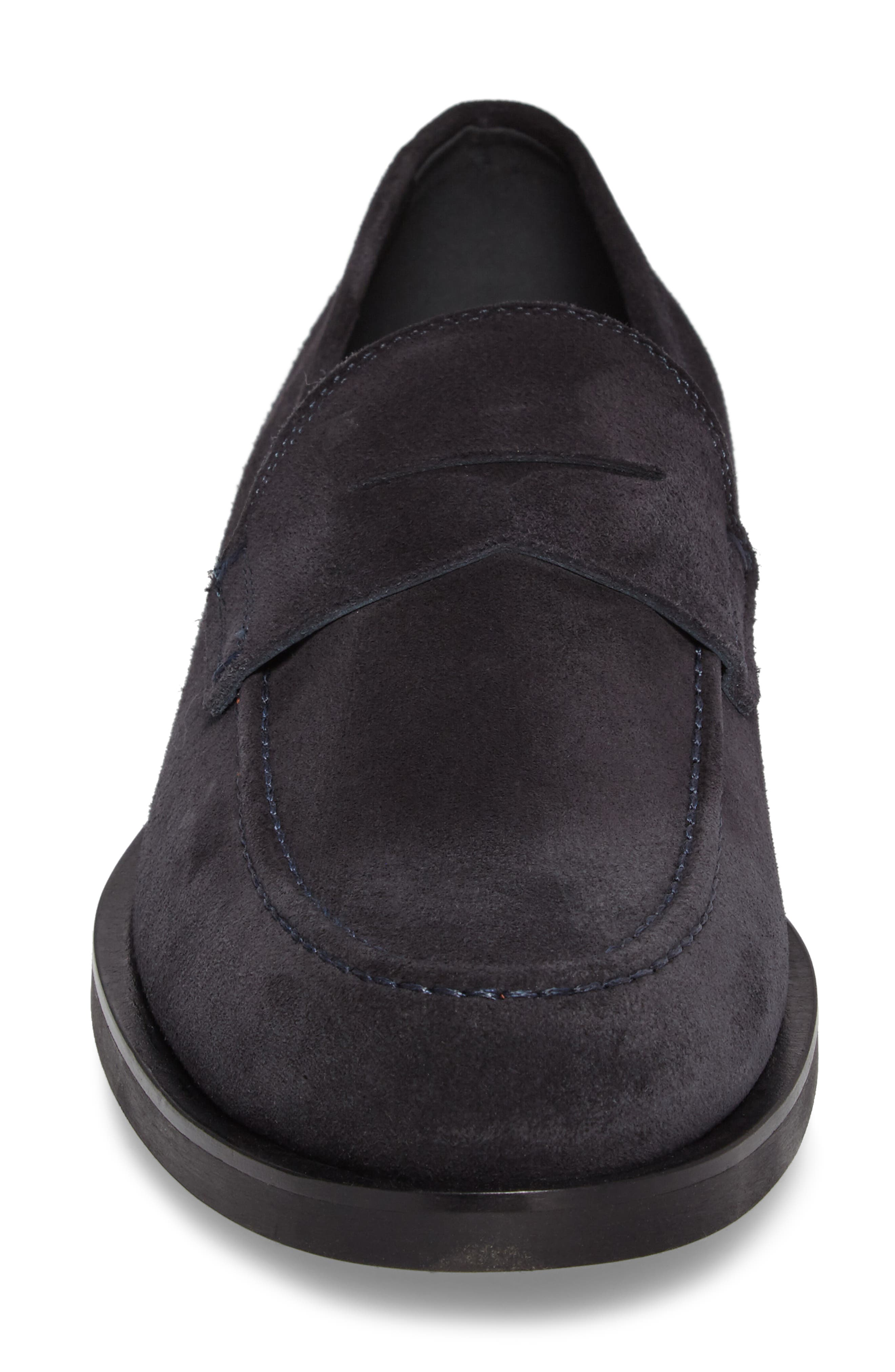 Penny Loafer,                             Alternate thumbnail 4, color,                             Navy Suede