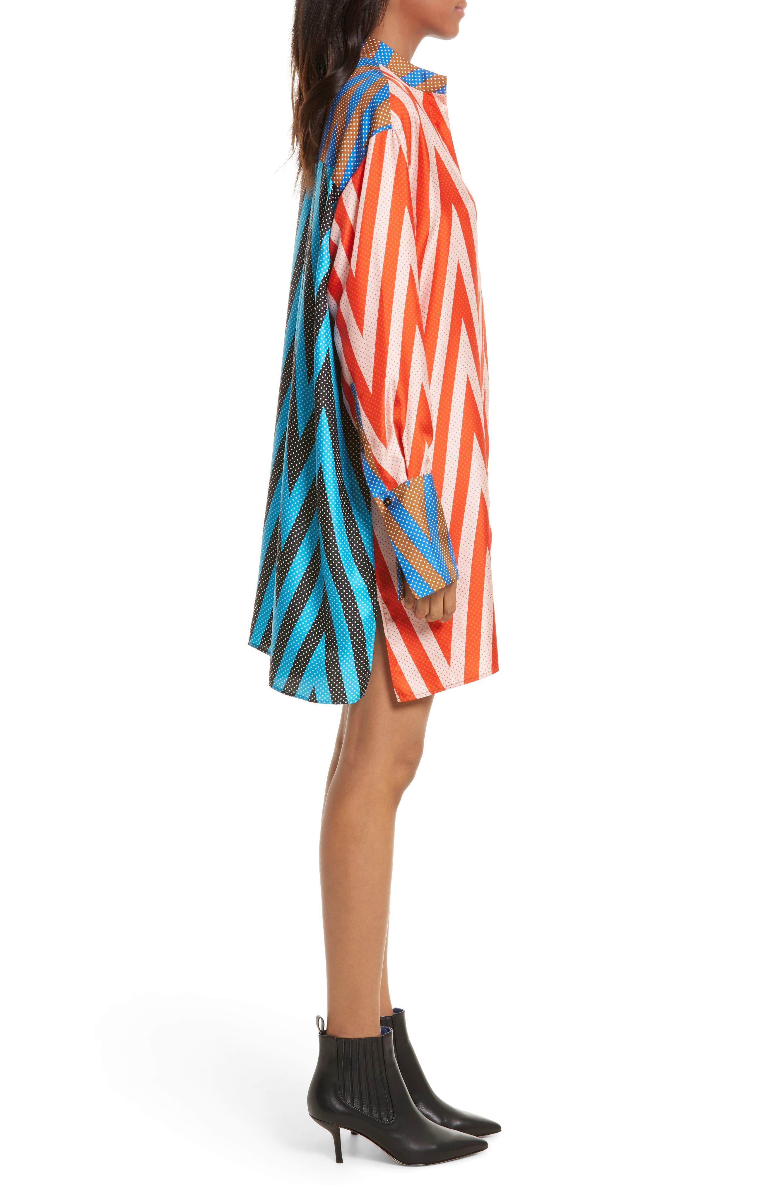 Bell Sleeve Silk Shirtdress,                             Alternate thumbnail 3, color,                             Odeon Chevron