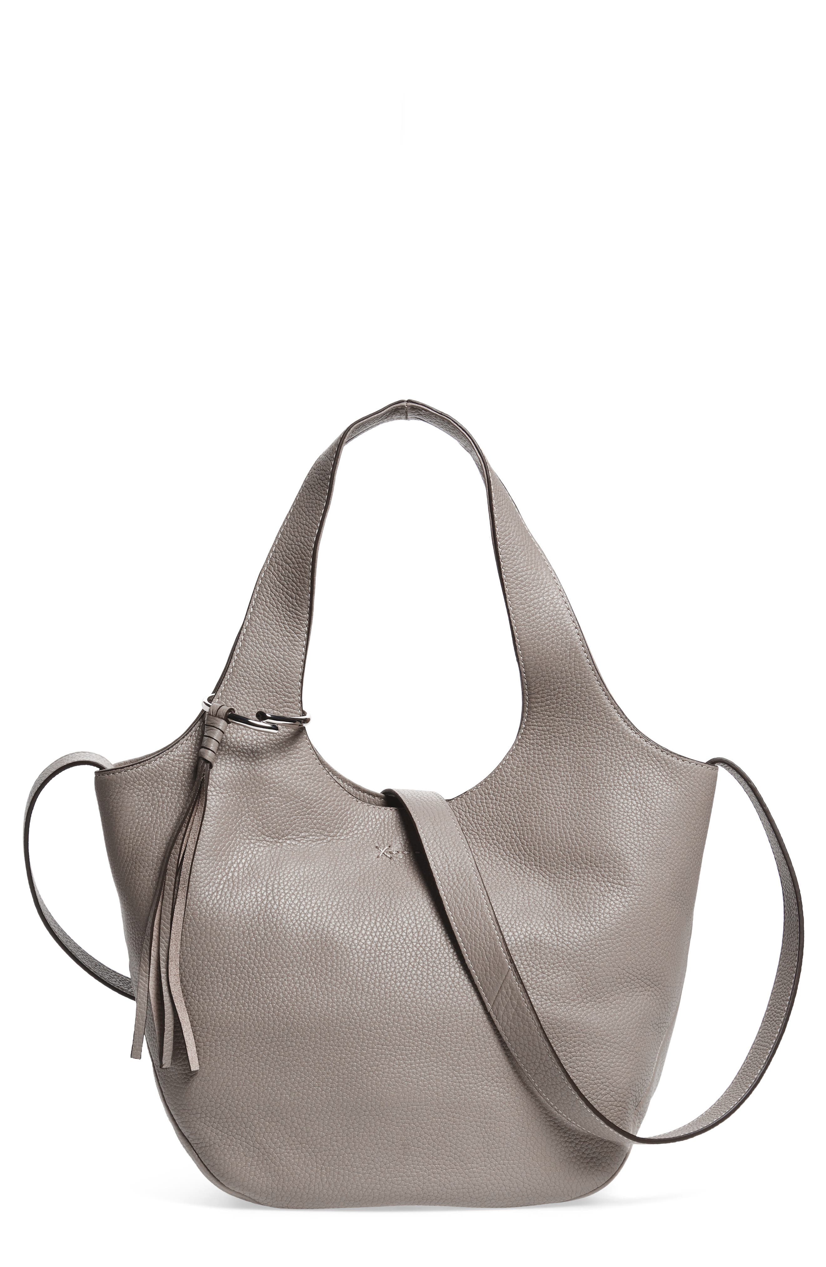 Small Finley Leather Shopper,                             Main thumbnail 1, color,                             Dove Grey