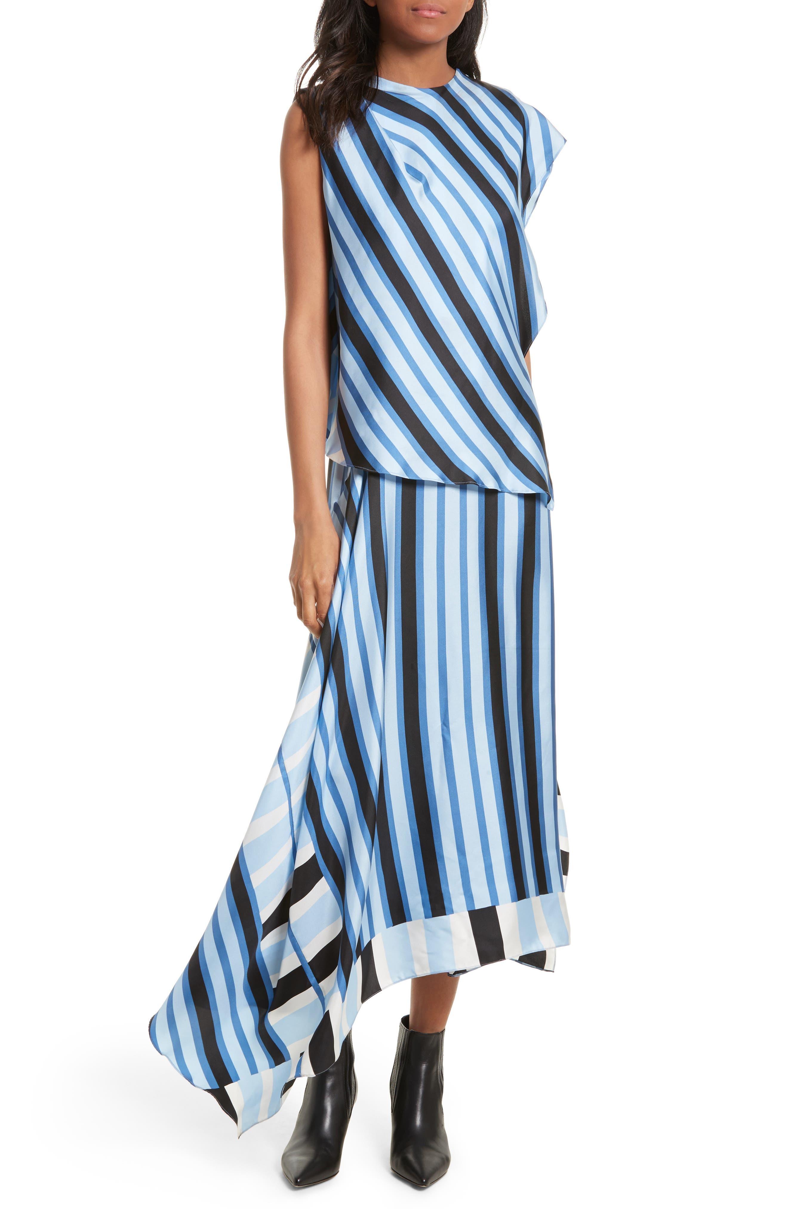 Asymmetrical Stripe Silk Maxi Dress,                         Main,                         color, Saxon Stripe Powder