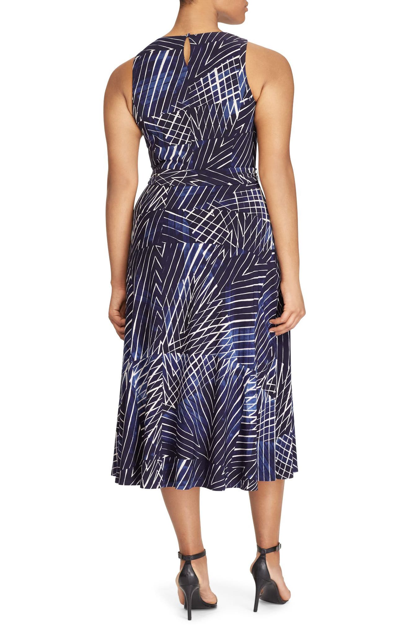 Print Jersey Fit & Flare Dress,                             Alternate thumbnail 2, color,                             Lighthouse Navy-Blue-Multi