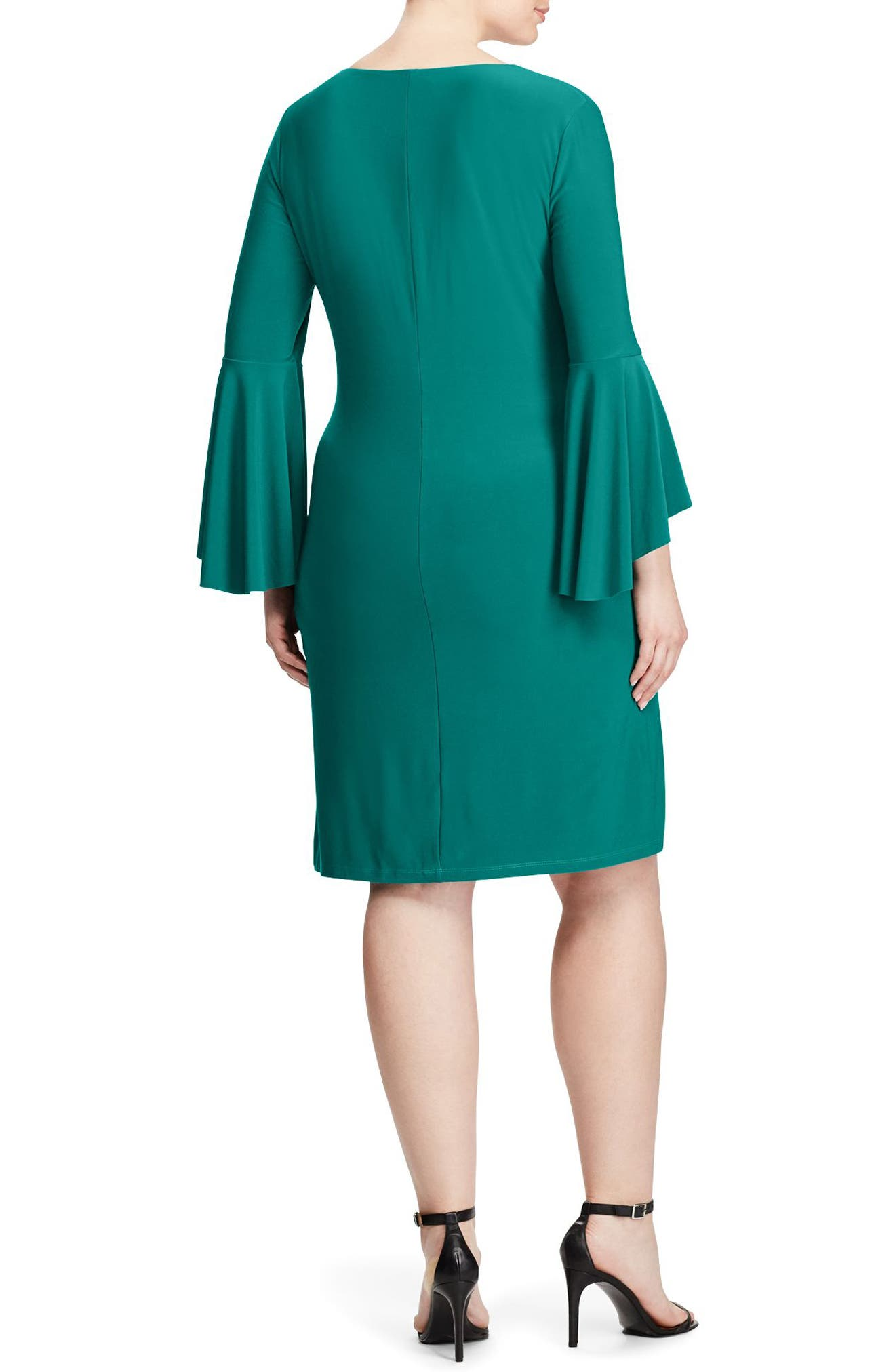 Alternate Image 2  - Lauren Ralph Lauren Flounce Sleeve Jersey Dress (Plus Size)