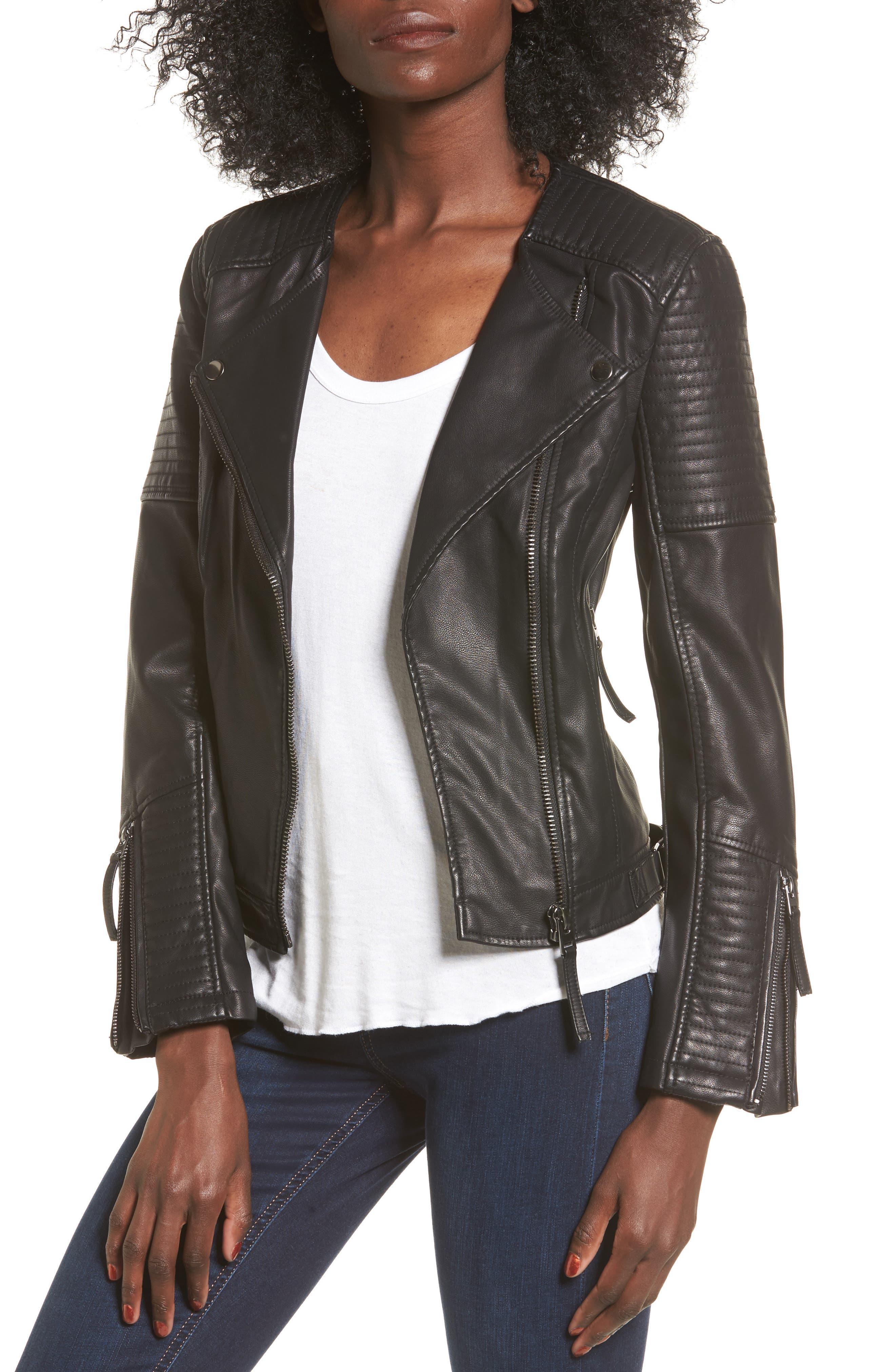 Luna Faux Leather Biker Jacket,                         Main,                         color, Black