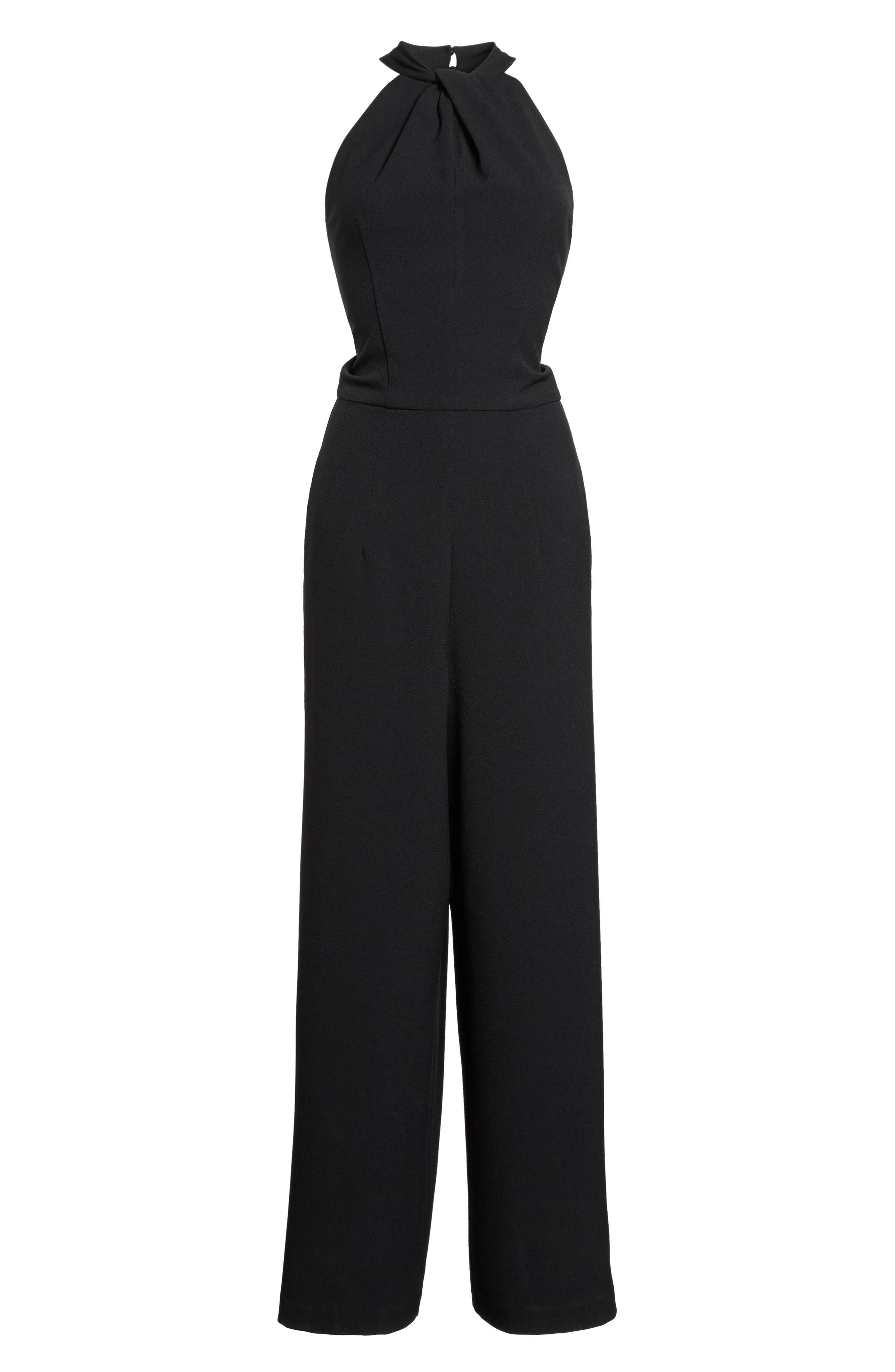 Halter Neck Jumpsuit,                             Alternate thumbnail 6, color,                             Black