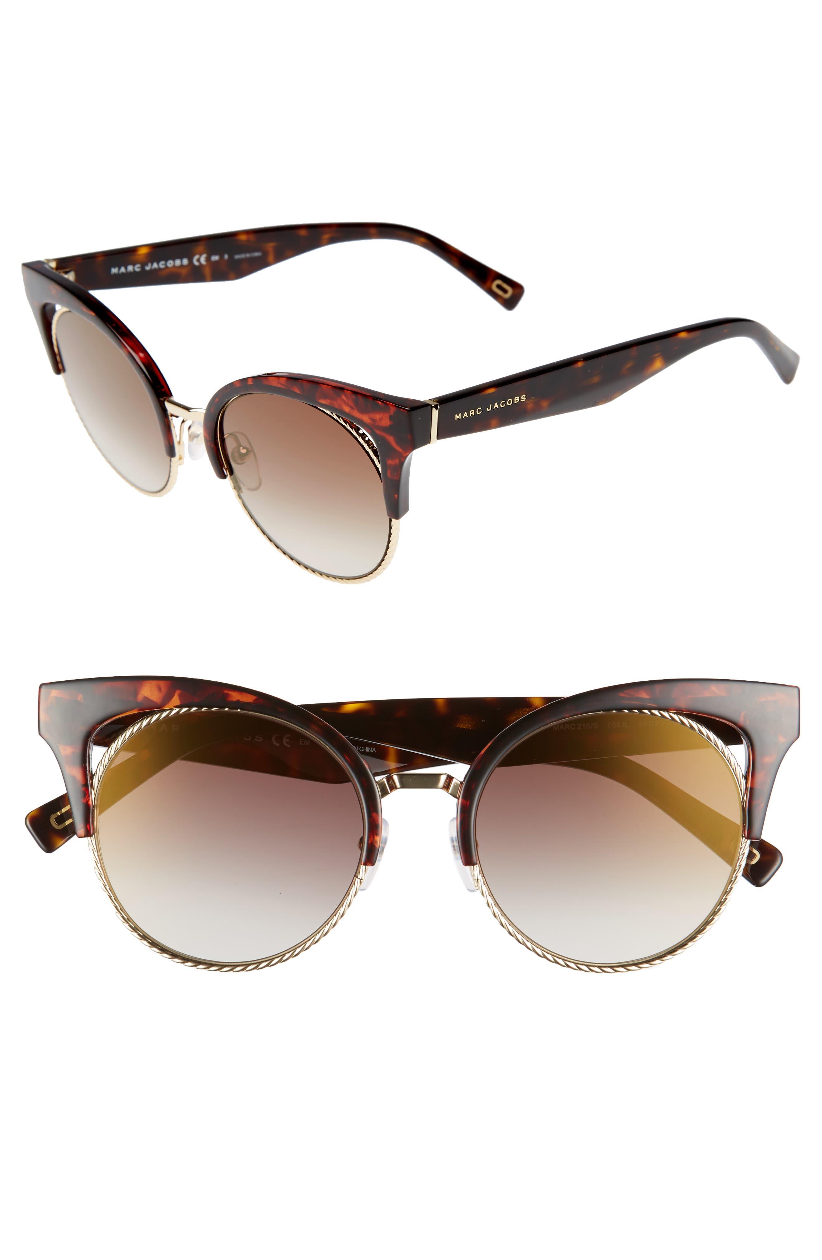 51mm Gradient Lens Cat Eye Sunglasses,                         Main,                         color, Dark Havana